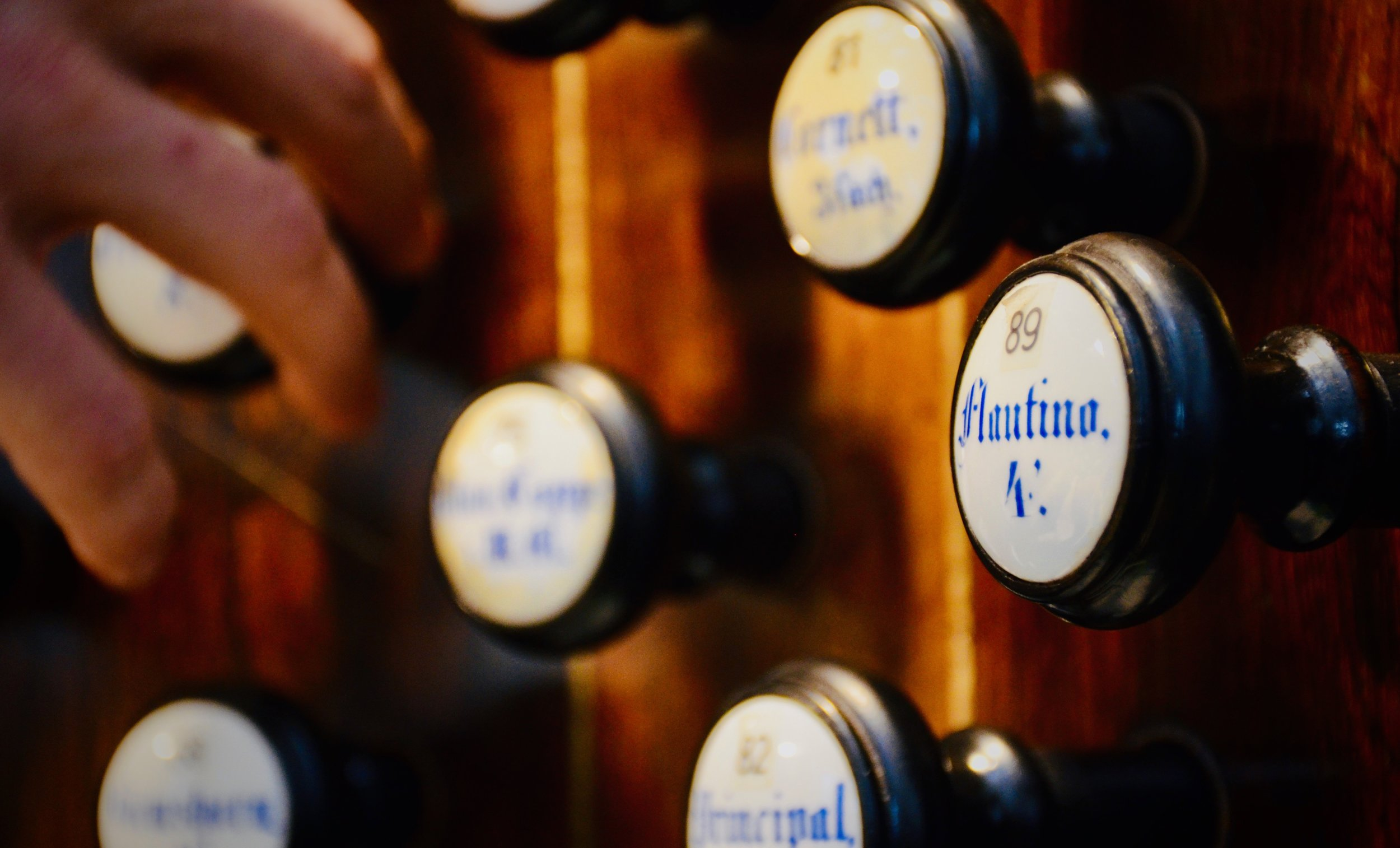 Console detail, 1871 Ladegast Organ, Schwerin Dom. Boston Organ Studio.