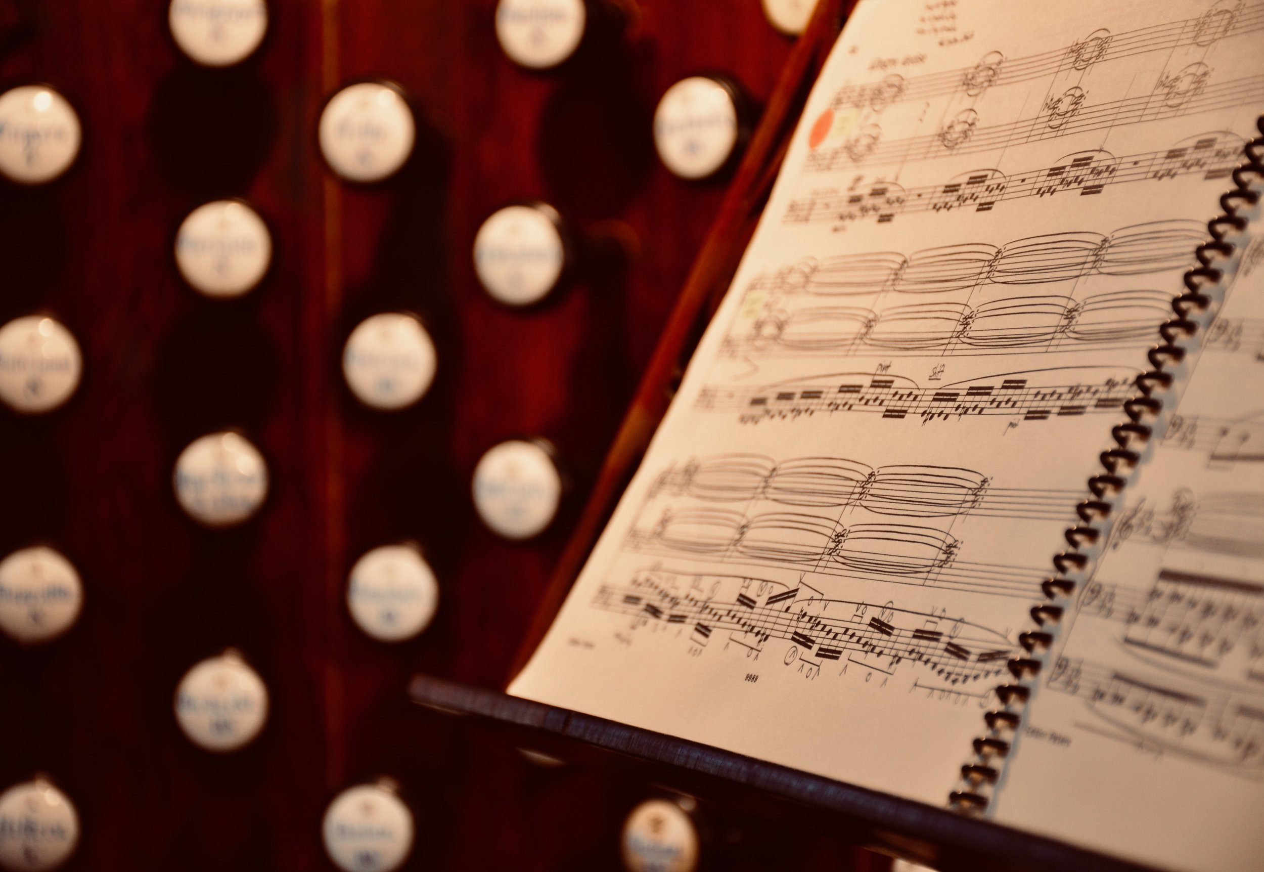 "Console detail, with Liszt ""Ad nos"", 1871 Ladegast Organ, Schwerin Dom. Boston Organ Studio."