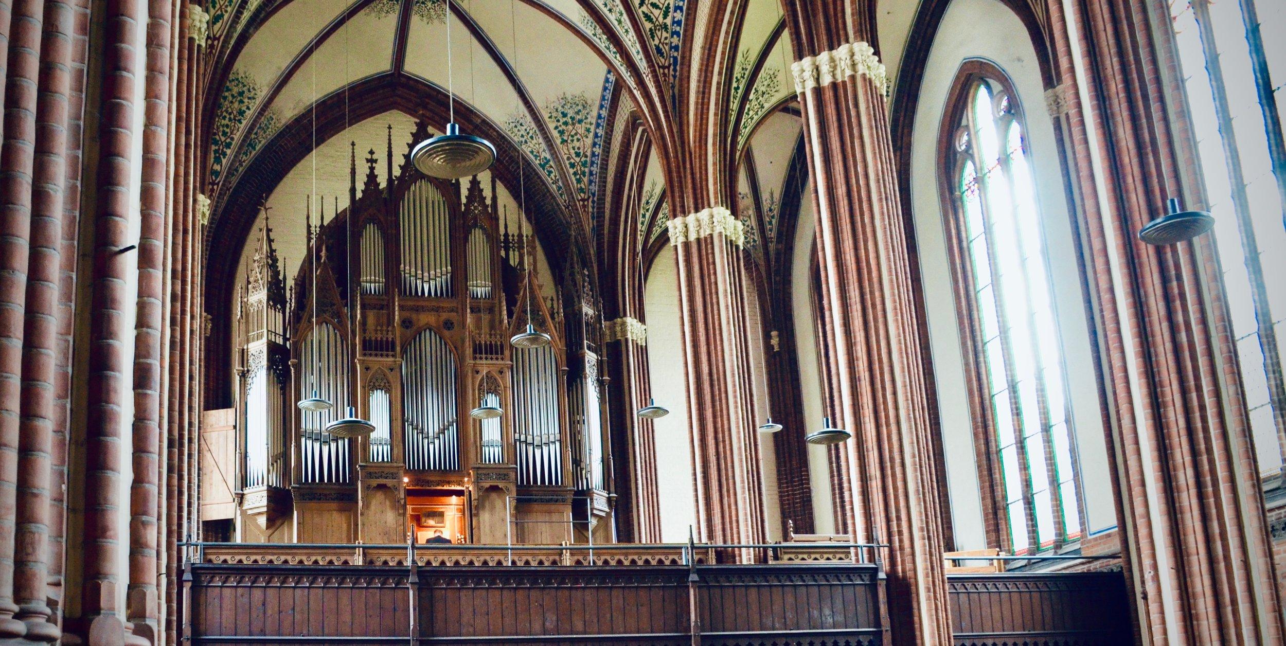 1869 Friese organ, Paulskirche, Schwerin. Boston Organ Studio.