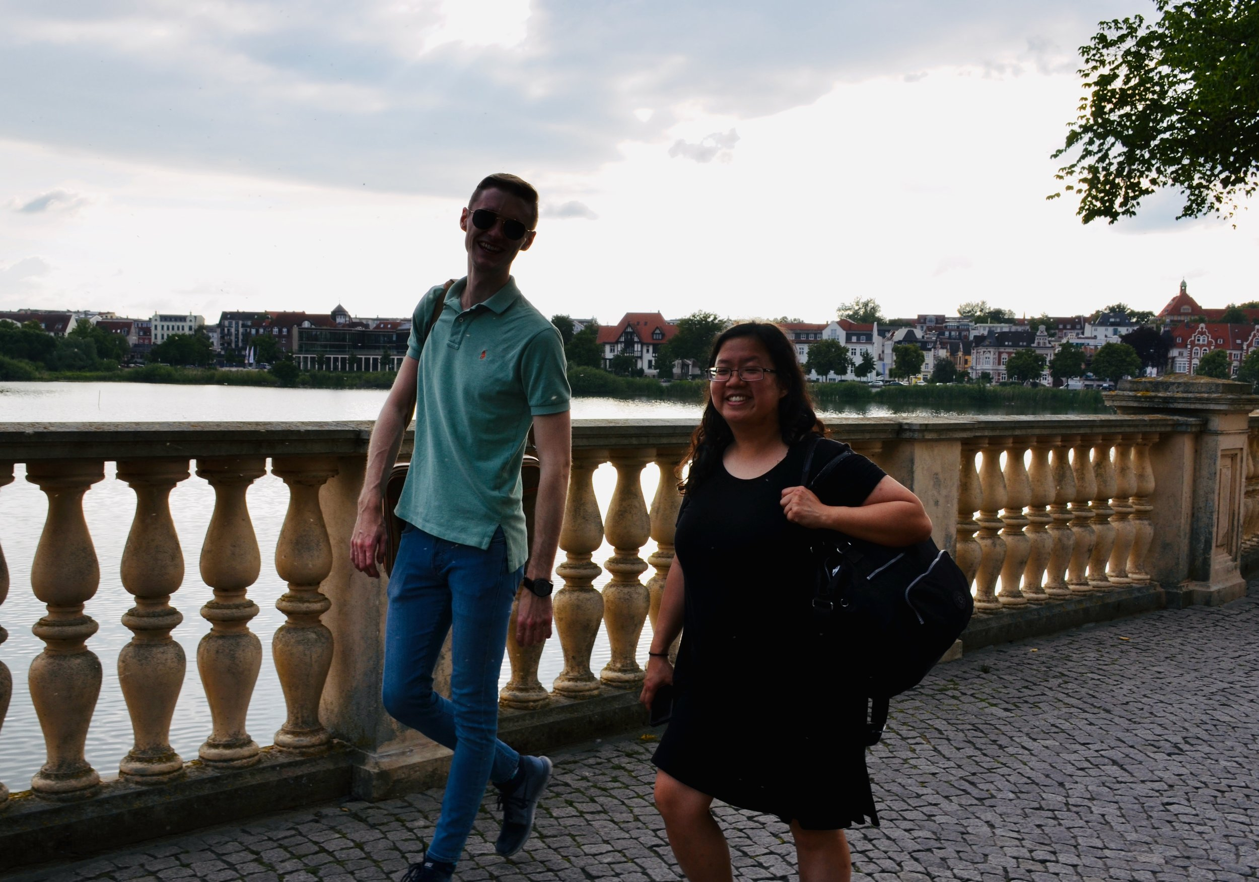 Evan Currie and Jennifer Hsiao enjoy a walk at Schwerin Castle.