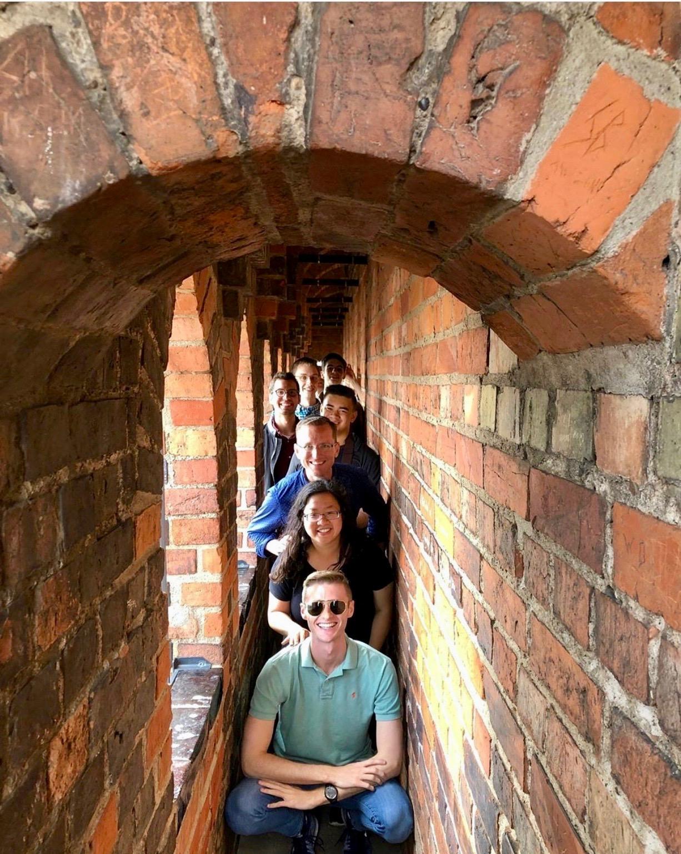 Members of Boston Organ Studio in the tower of Schwerin Dom.