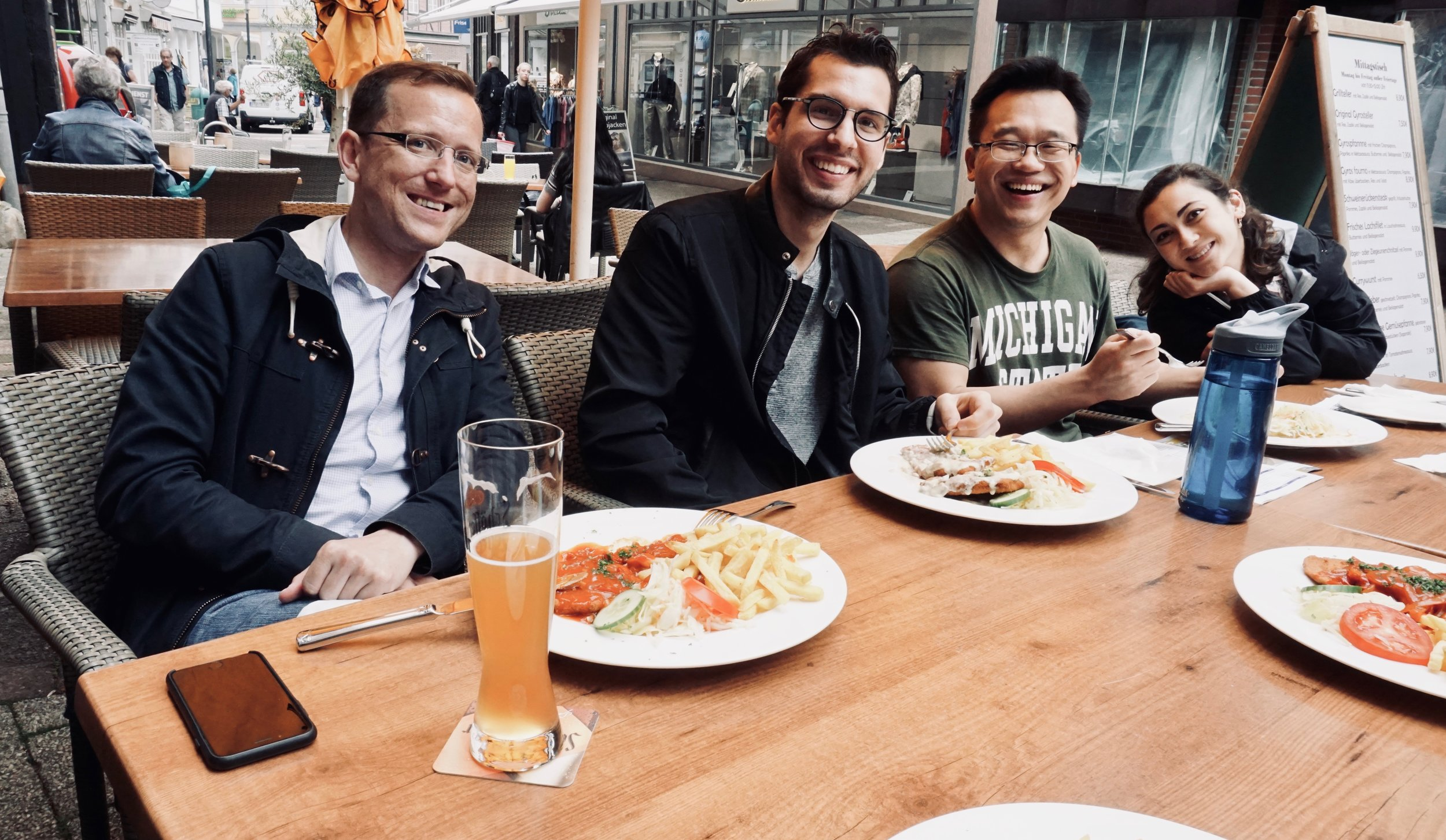 Chris, Nick, Cho, and Meg enjoy lunch in Stade, Germany.
