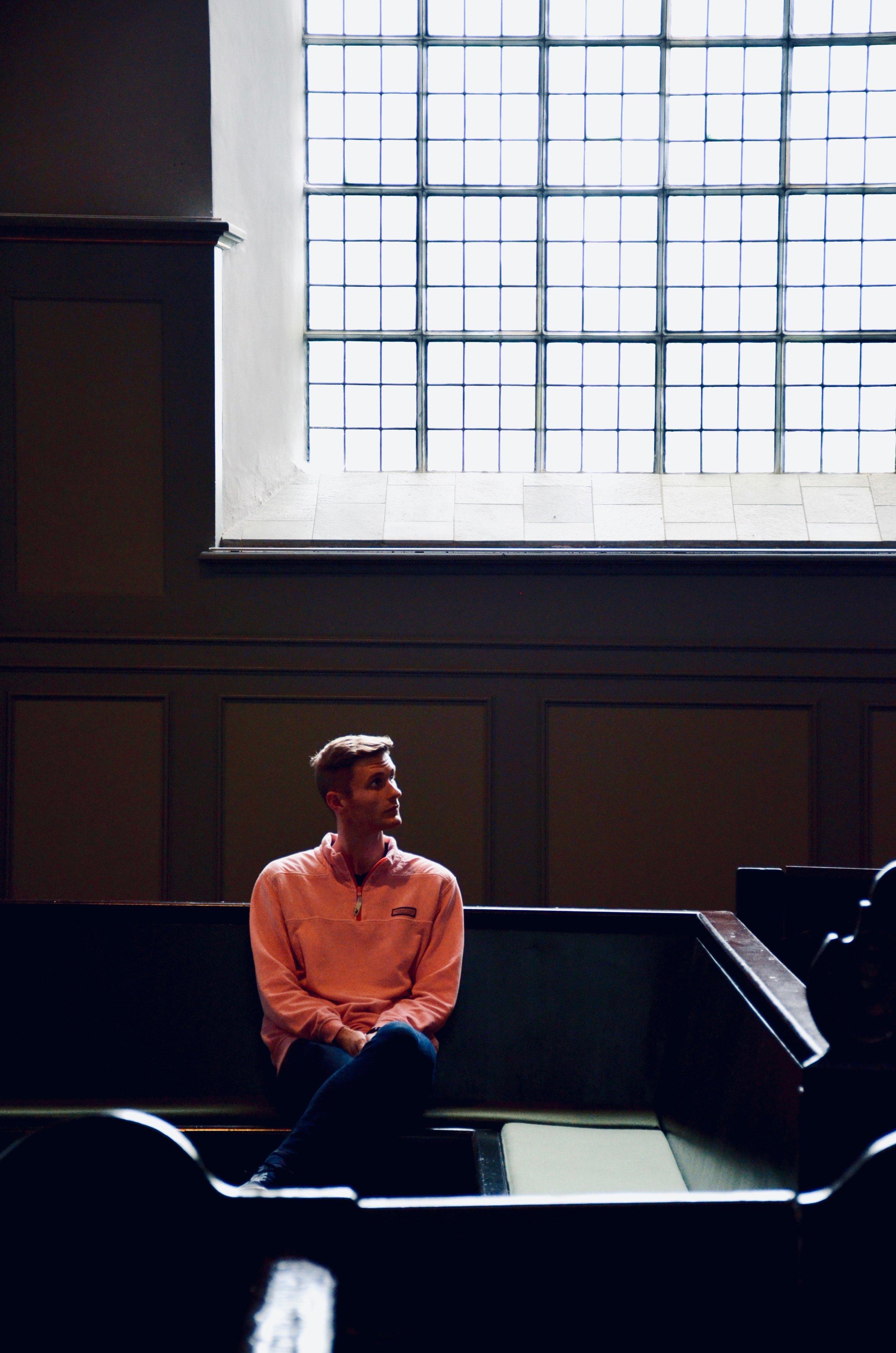 Evan Currie listens to the 1688 Schnitger Organ, St. Pankratius, Neuenfelde, Germany. Boston Organ Studio.