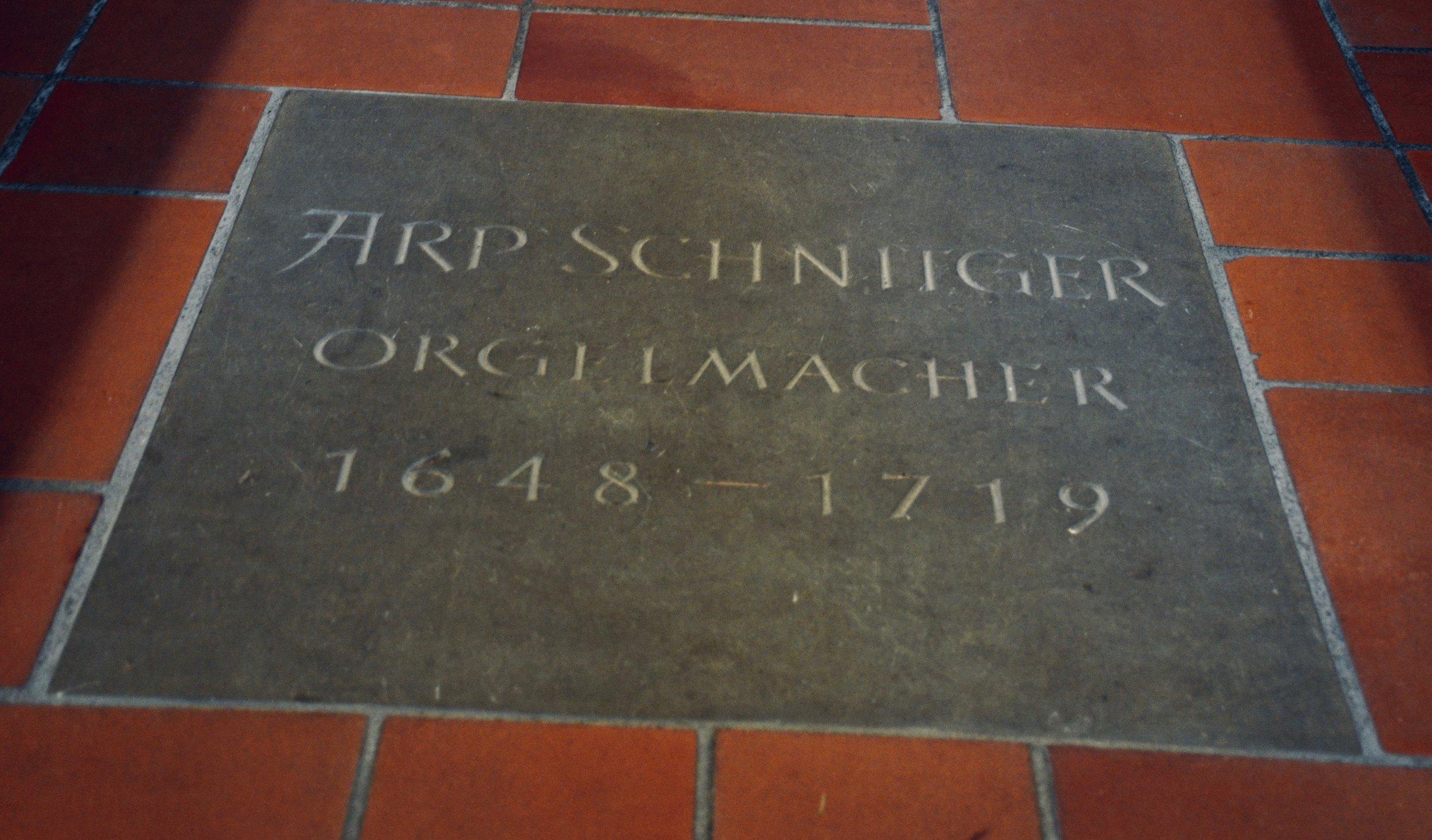 The grave of Arp Schnitger, St. Pankratius, Neuenfelde, Germany. Boston Organ Studio.