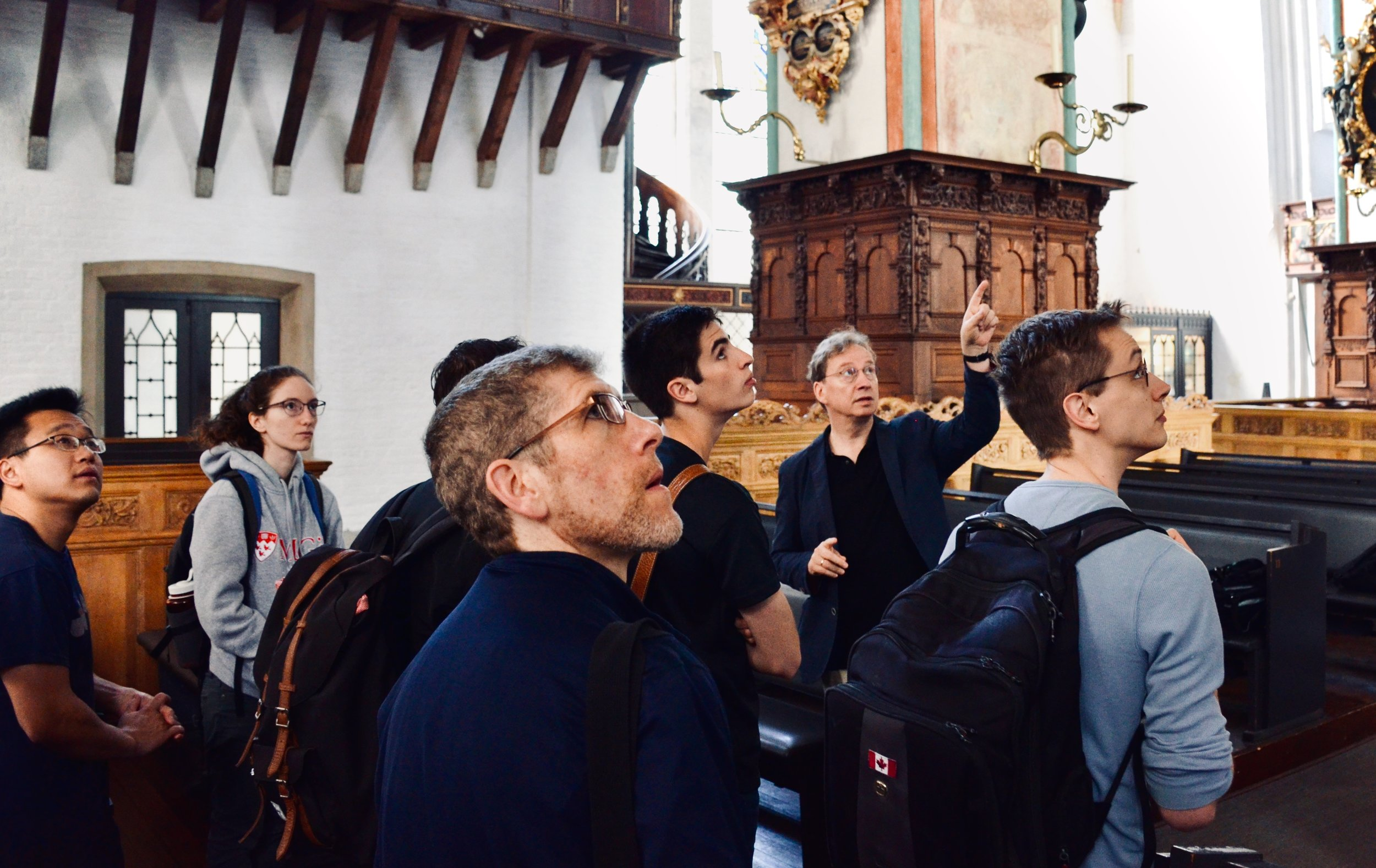 Prof. Arvid Gast welcomes Boston Organ Studio to St. Jakobi, Lübeck.