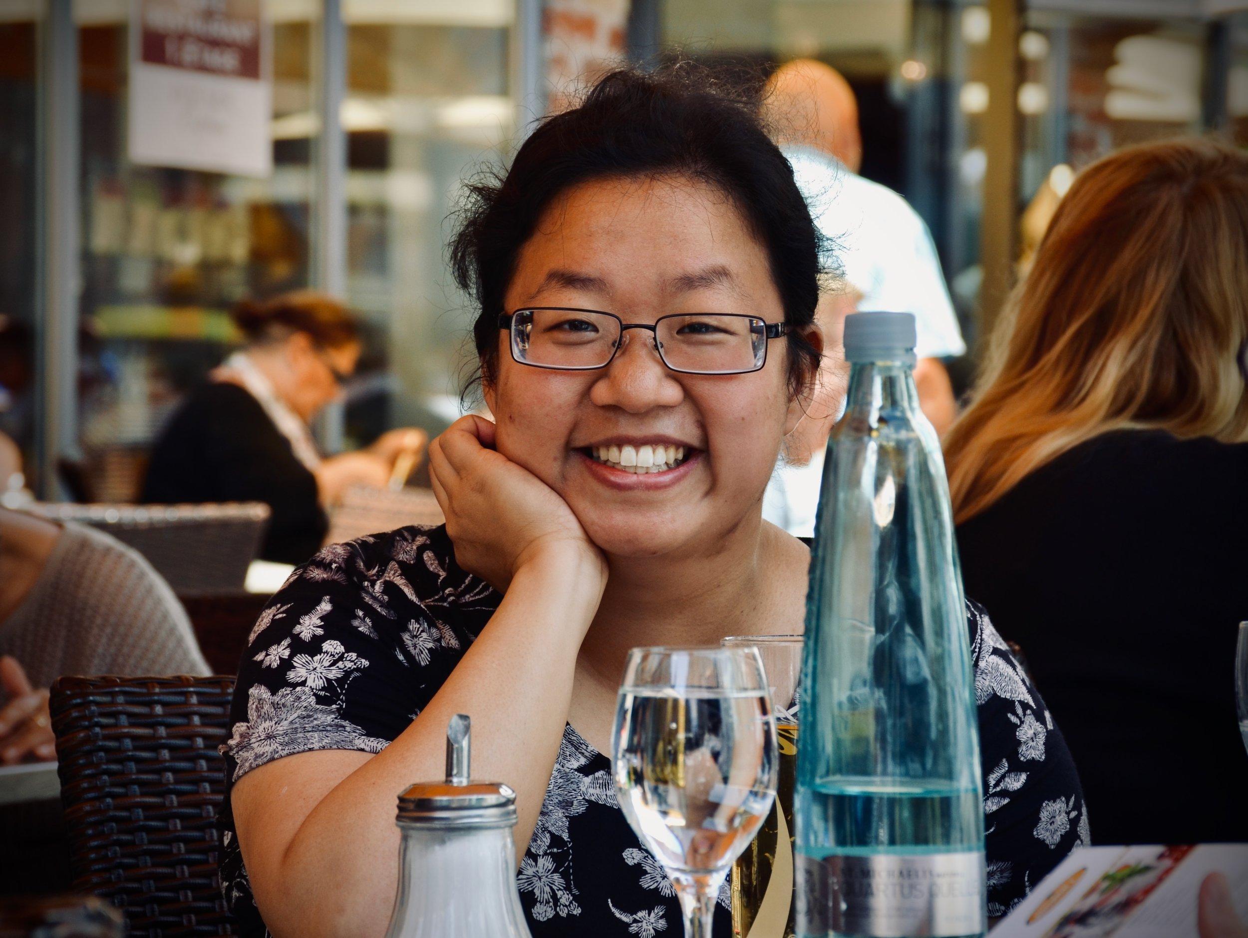 Jennifer Hsiao enjoys lunch in Lübeck.