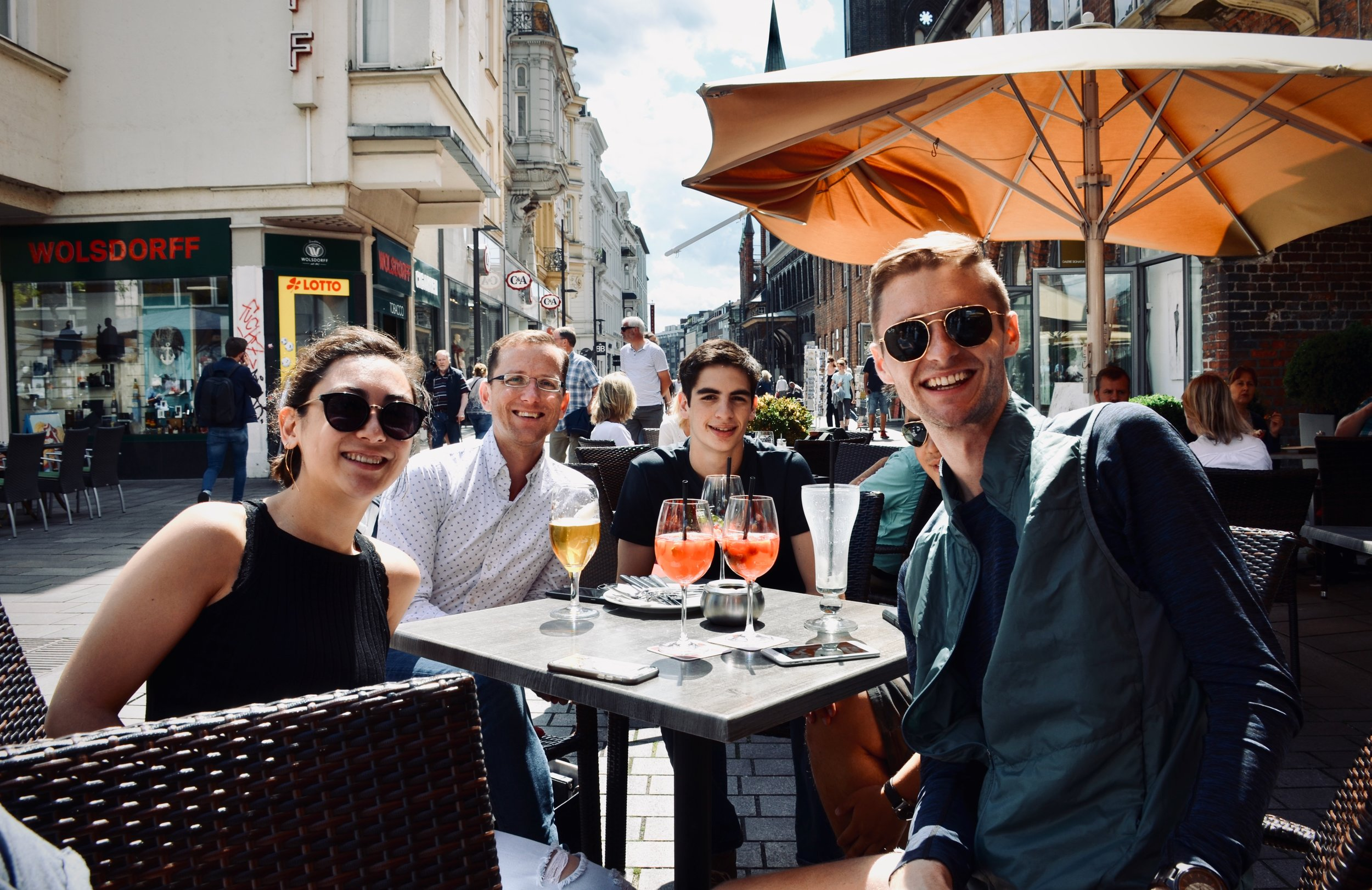 Meg Cutting, Christian Lane, Alex Marin, and Evan Currie enjoys lunch in Lübeck.