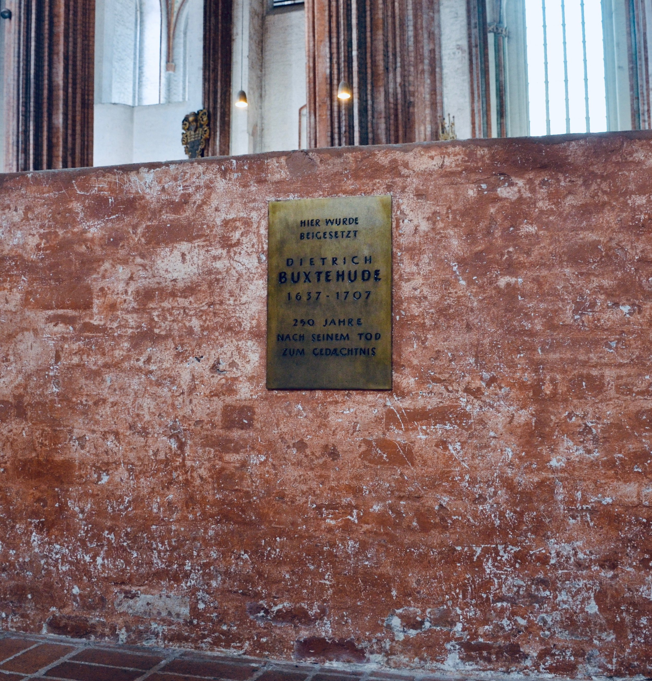 Buxtehude plaque, Marienkirche, Lübeck.
