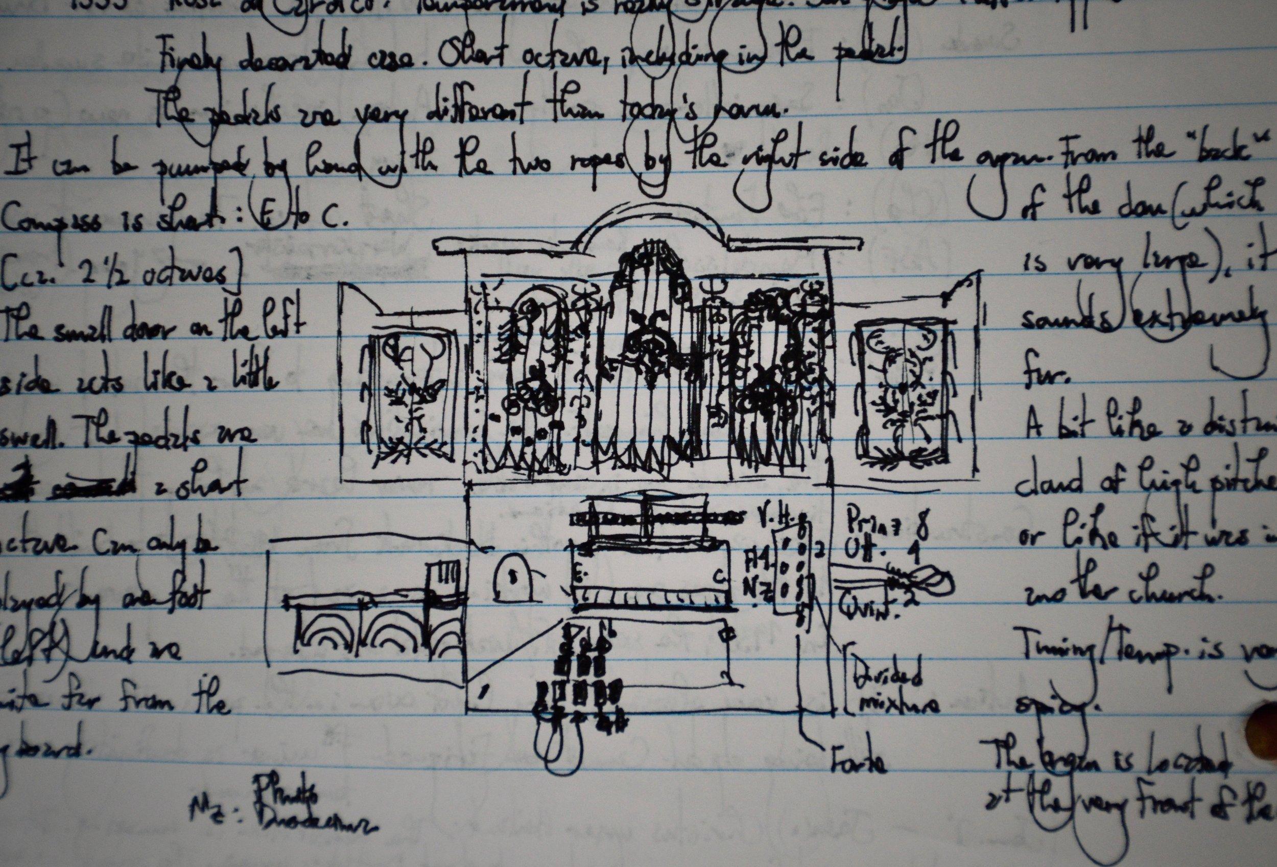 1777 Italian Baroque organ in Lübeck Dom, as sketched by Rosemarie Tougas.