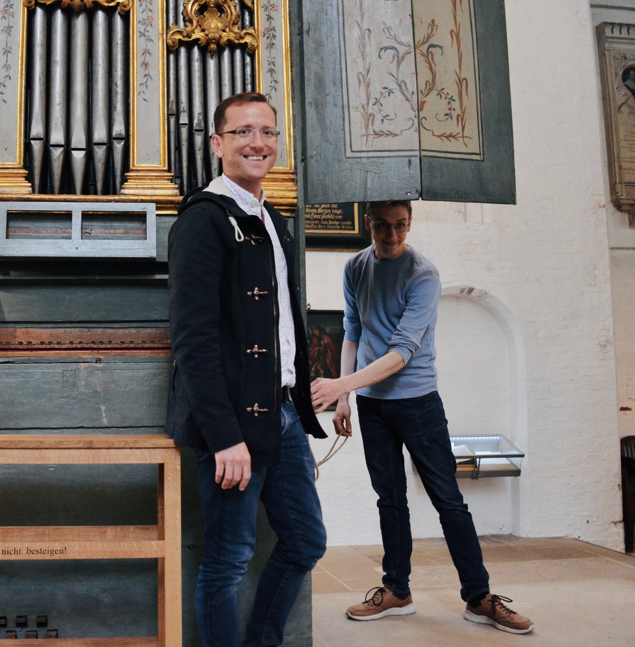 Christian Lane and Alex Ross at the 1777 Italian Baroque organ in Lübeck Dom.