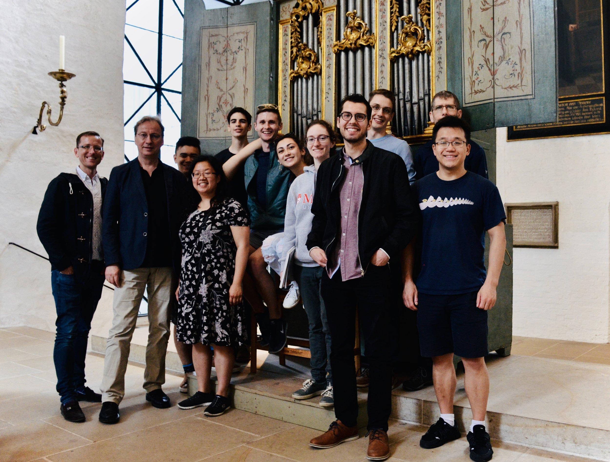 Members of Boston Organ Studio with Prof. Arvid Gast, 1777 Italian Baroque organ in Lübeck Dom.