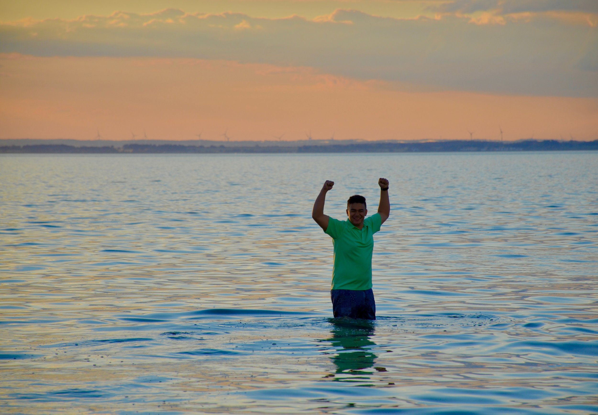 Alex Straus-Fausto enjoys an evening along (in) the Baltic Sea.