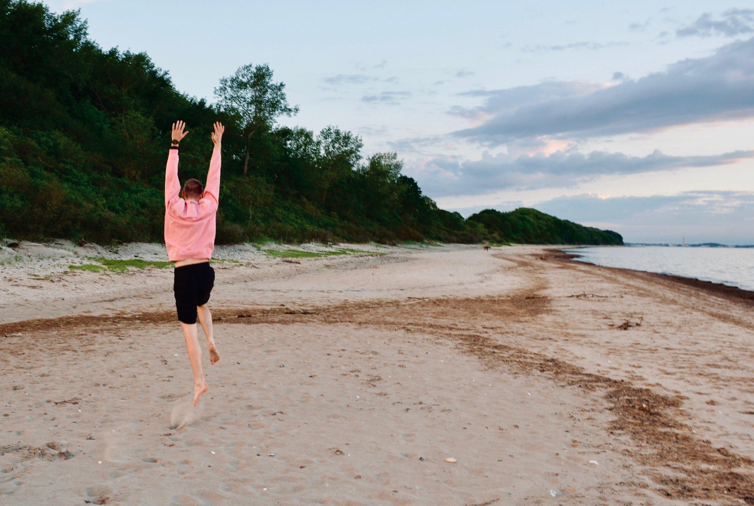 Evan Currie enjoys an evening along the Baltic Sea.