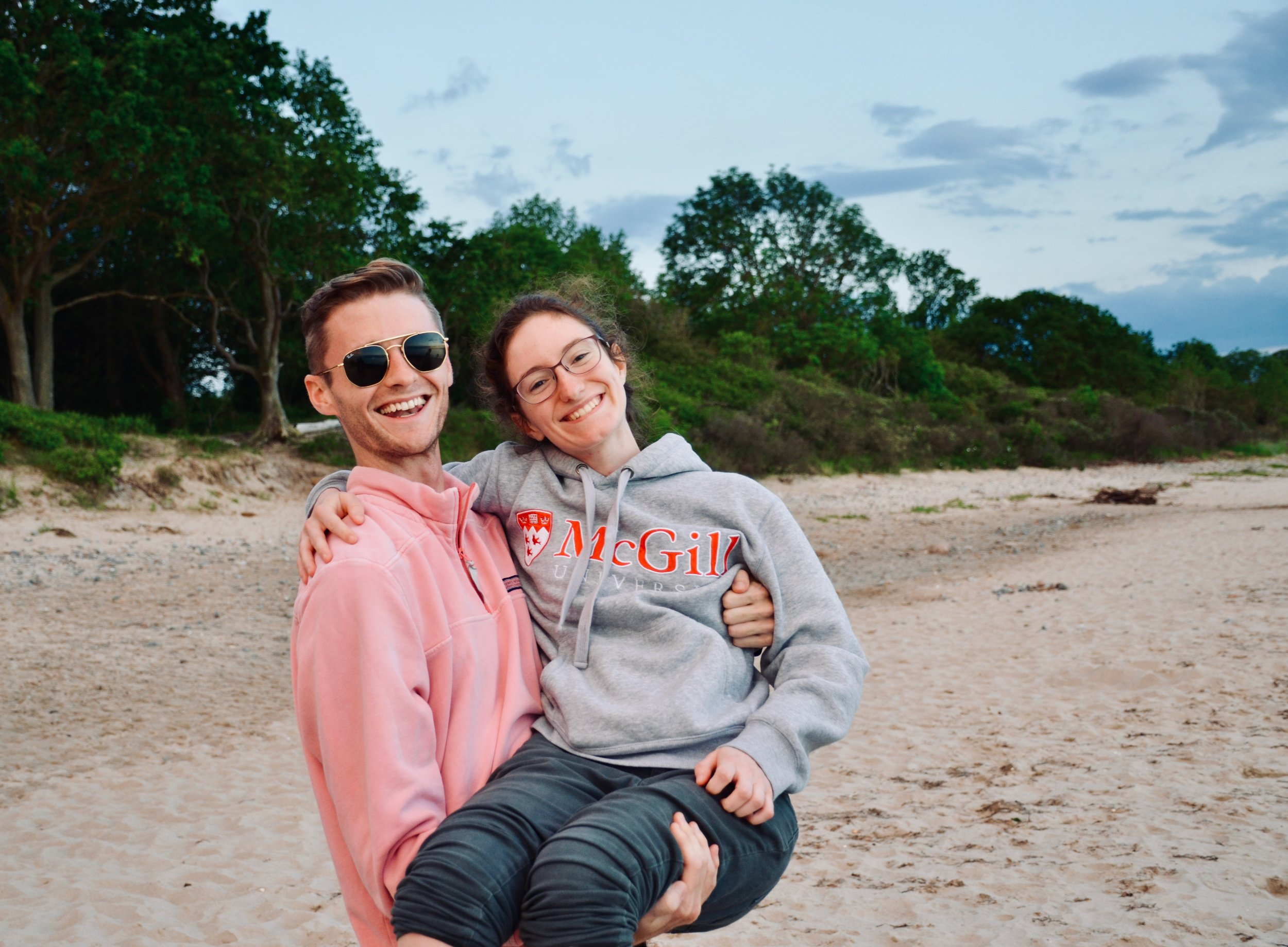 Evan Currie and Rosemarie Tougas enjoy an evening along the Baltic Sea.
