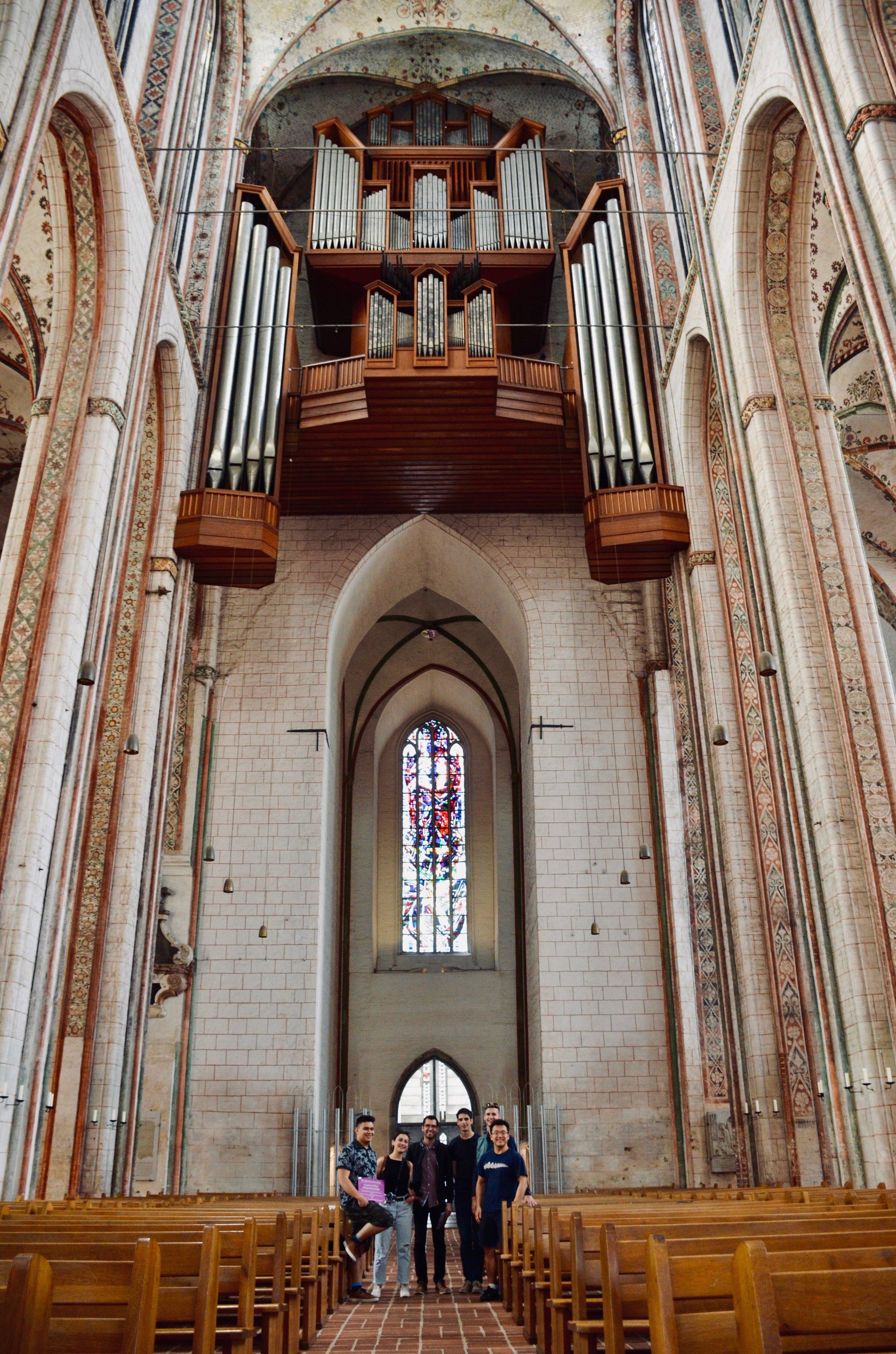 Members of Boston Organ Studio in Marienkirche, Lübeck, home church of Dietrich Buxtehude.