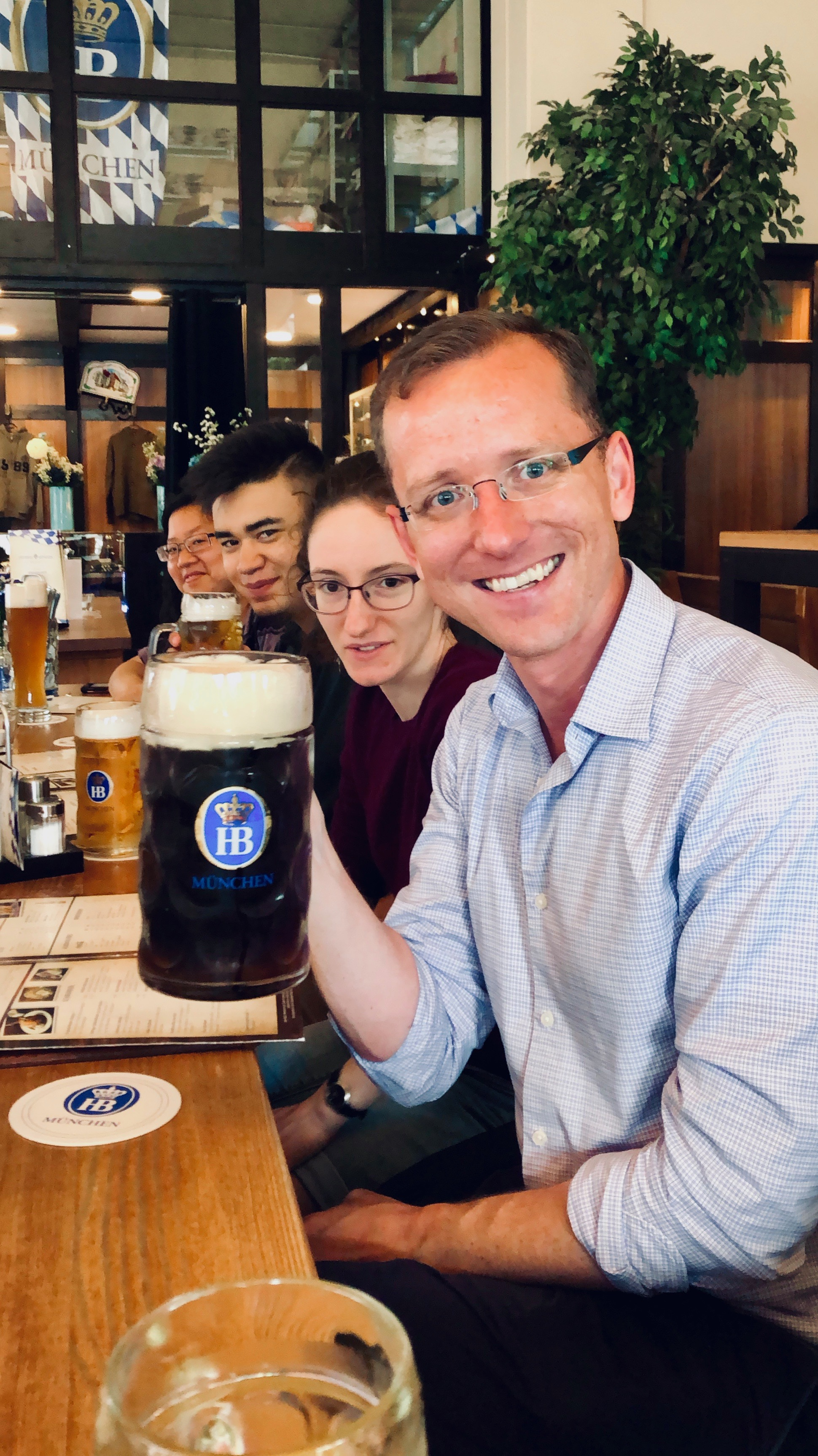 Enjoying a very large beer, and dinner, in Hamburg.