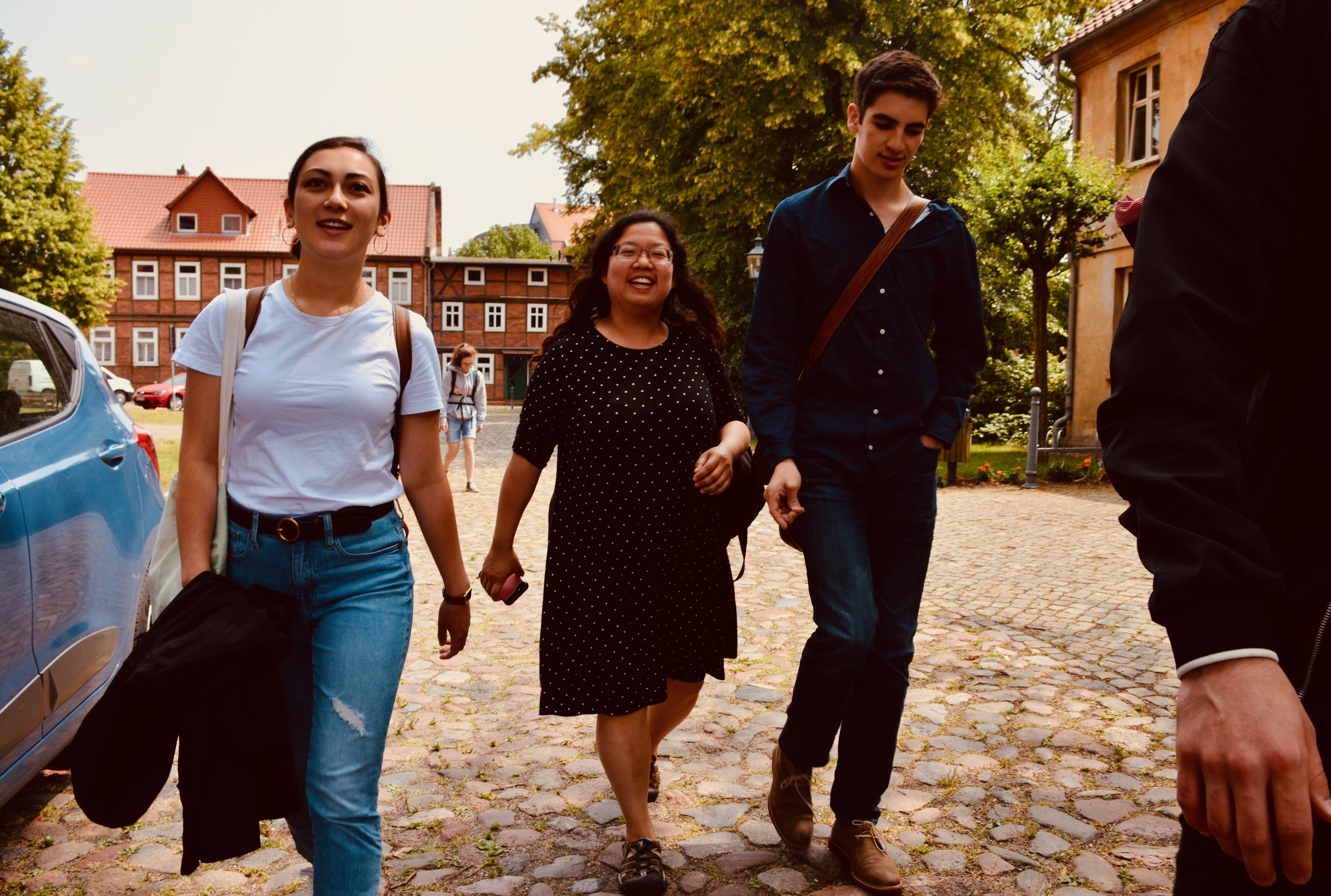 Meg Cutting Jennifer Hsiao, and Alex Marin are all smiles in Seehausen, Germany.