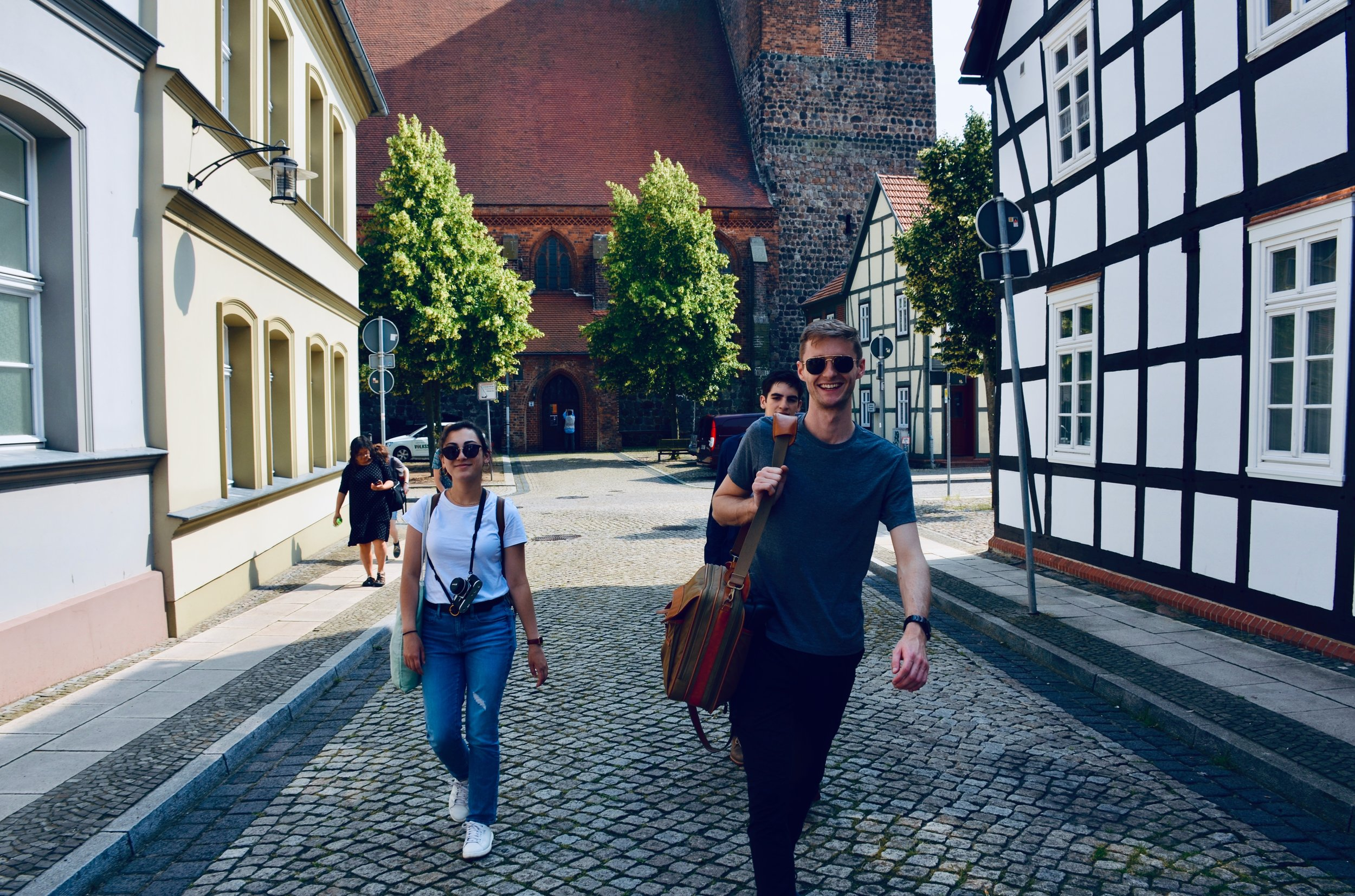 Meg Cutting and Evan Currie walk through Osterburg, Germany.