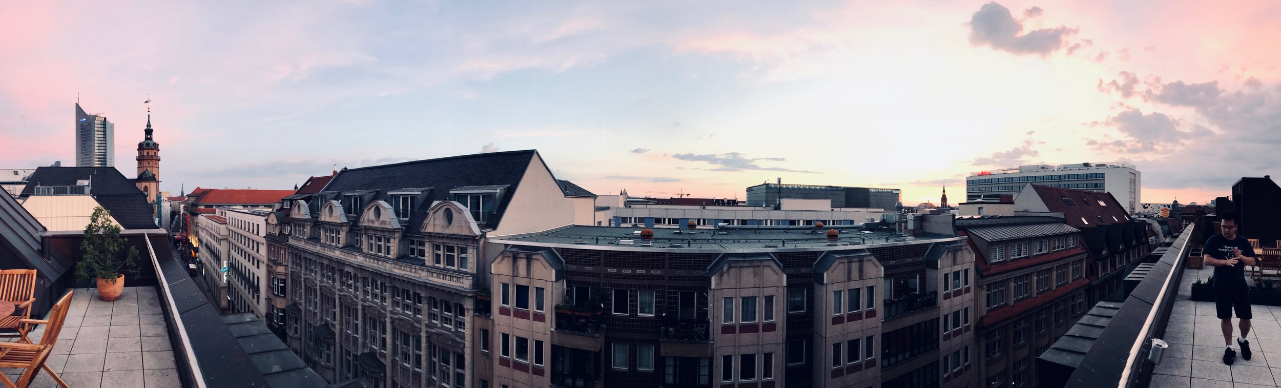 Panoramic view from our roof deck in central Leipzig.