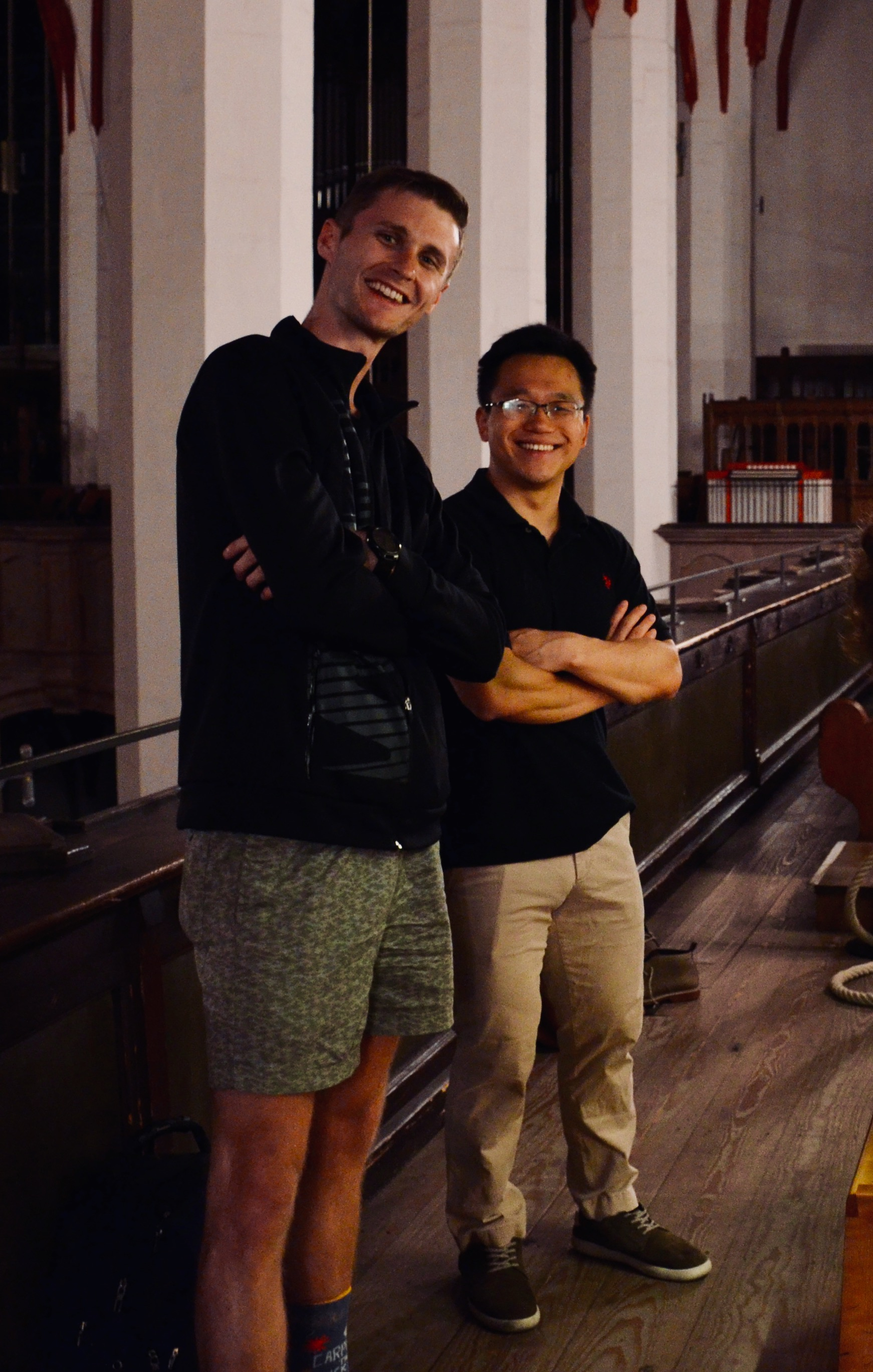 "Evan Currie and Adrian Cho listen to the 2000 Woehl ""Bach Organ,"" Thomaskirche, Leipzig."