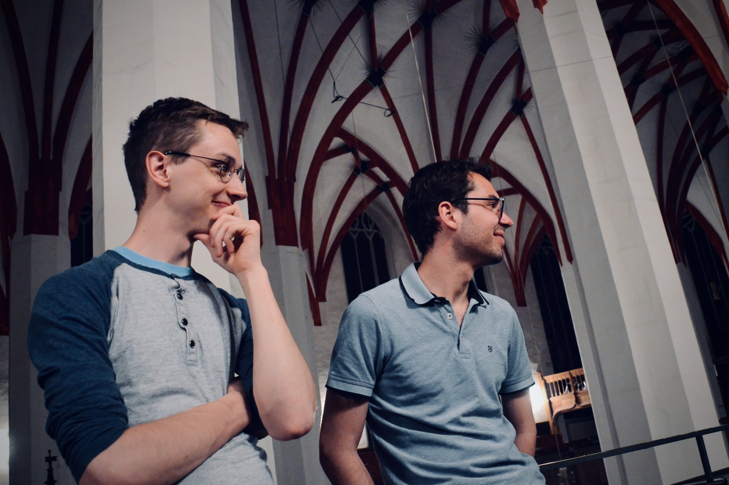 "Alex Ross and Nick Capozzoli listen to the 2000 Woehl ""Bach Organ,"" Thomaskirche, Leipzig."