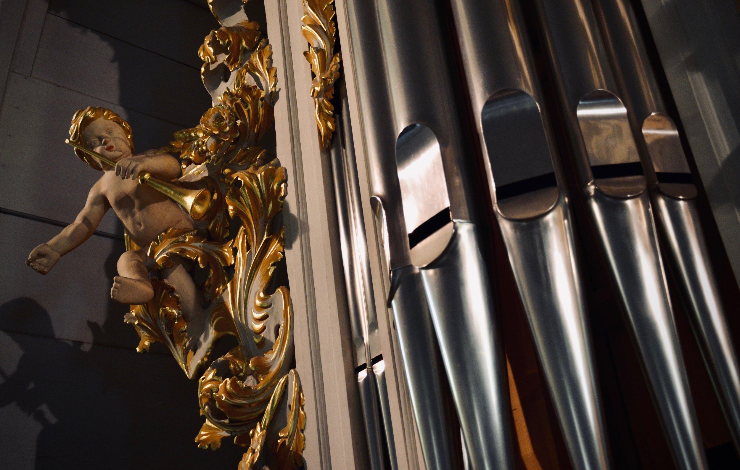 Pipework detail, reconstructed Wender Organ (1703/2000) in Bachkirche, Arnstadt.