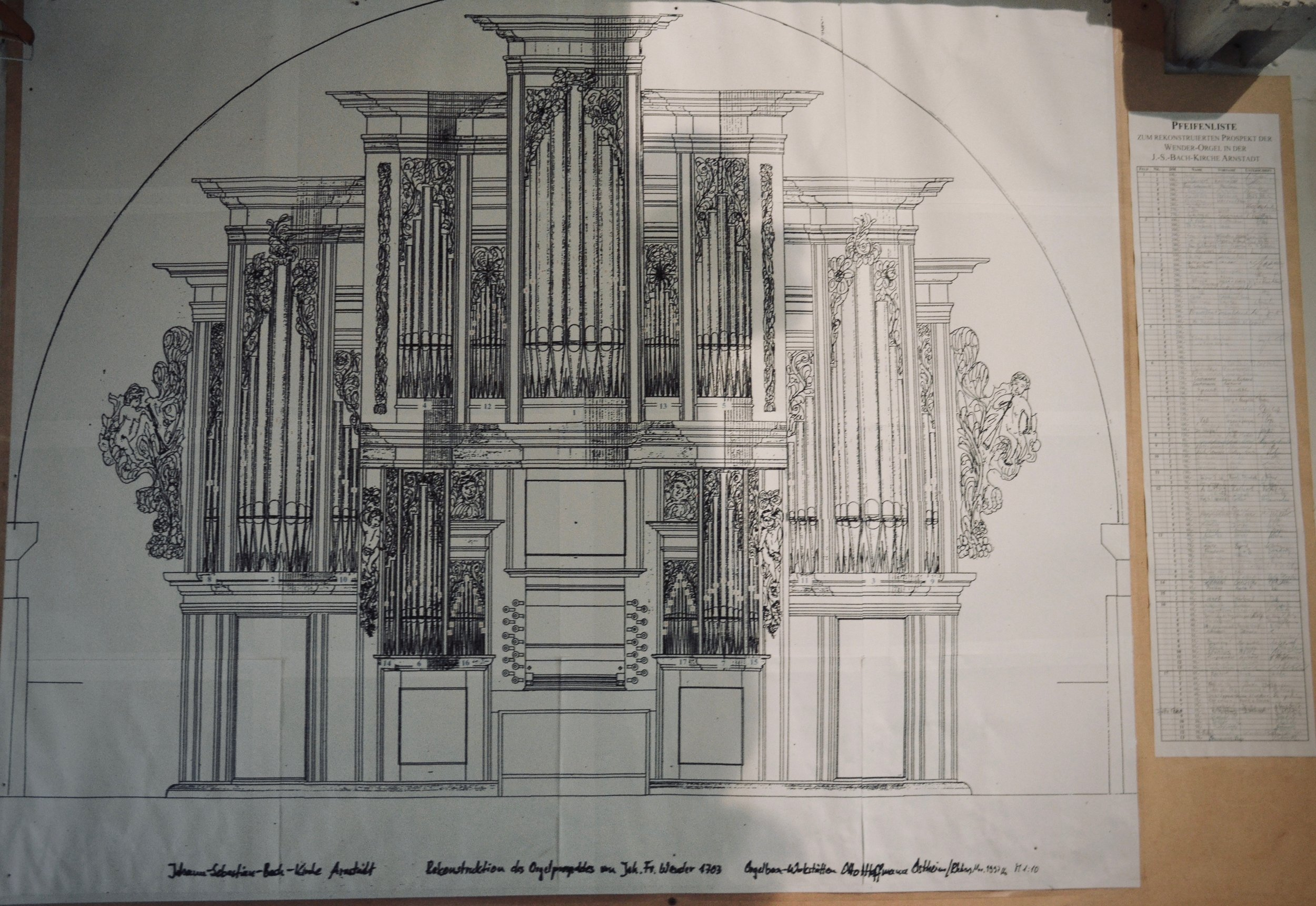 Sketch of the reconstructed Wender Organ (1703/2000) in Bachkirche, Arnstadt.