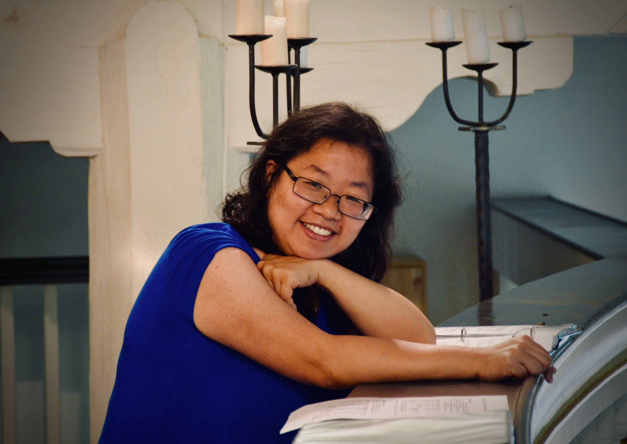 Jennifer Hsiao listens to the reconstructed Wender Organ (1703/2000) in Bachkirche, Arnstadt.