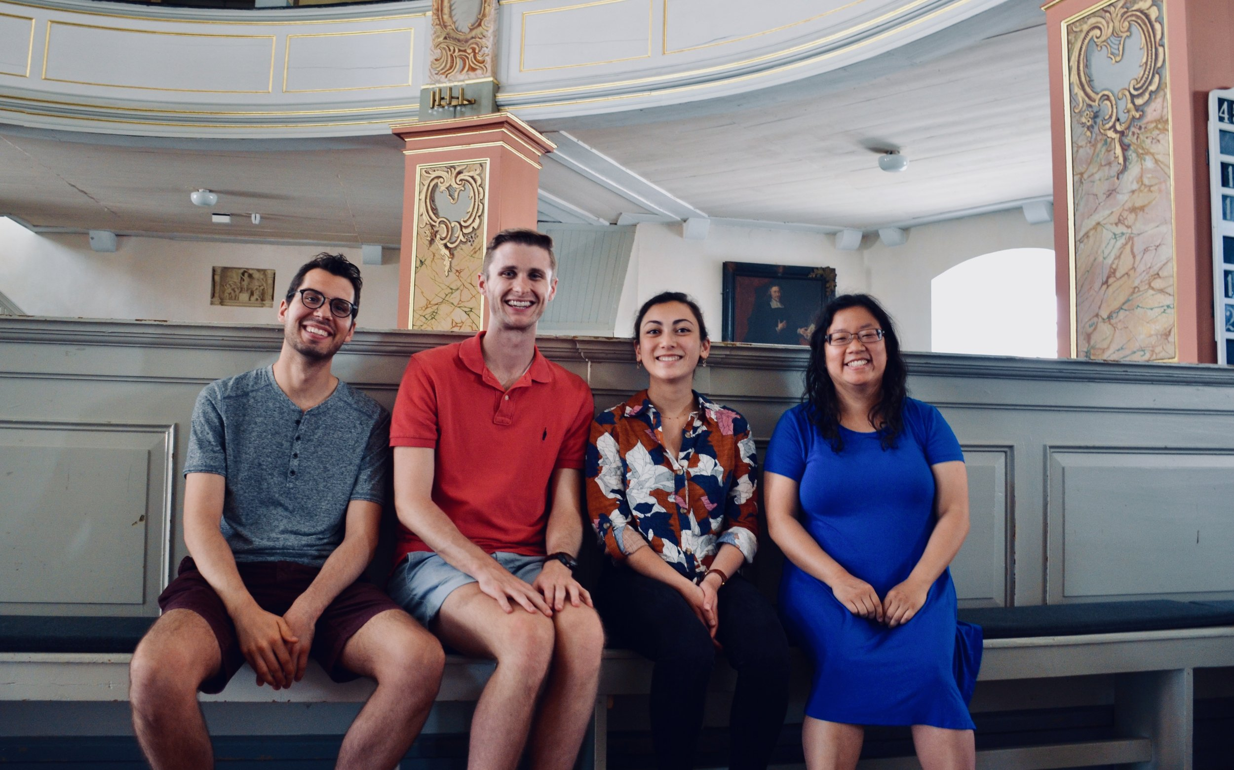 Nick Capozzoli, Evan Currie, Meg Cutting, and Jennifer Hsiao enjoy the sounds of the 1730 Trost Organ, Stadtkirche, Waltershausen.