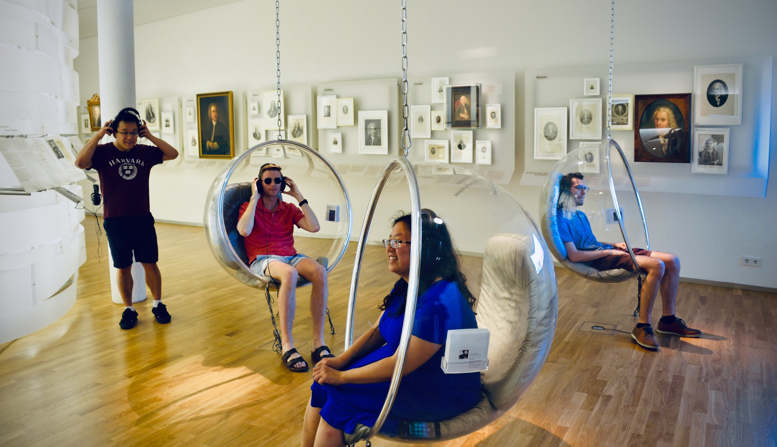 Adrian Cho, Evan Currie, Jennifer Hsiao, and Nick Capozzoli listen to music at the Bachhaus Museum, Eisenach.