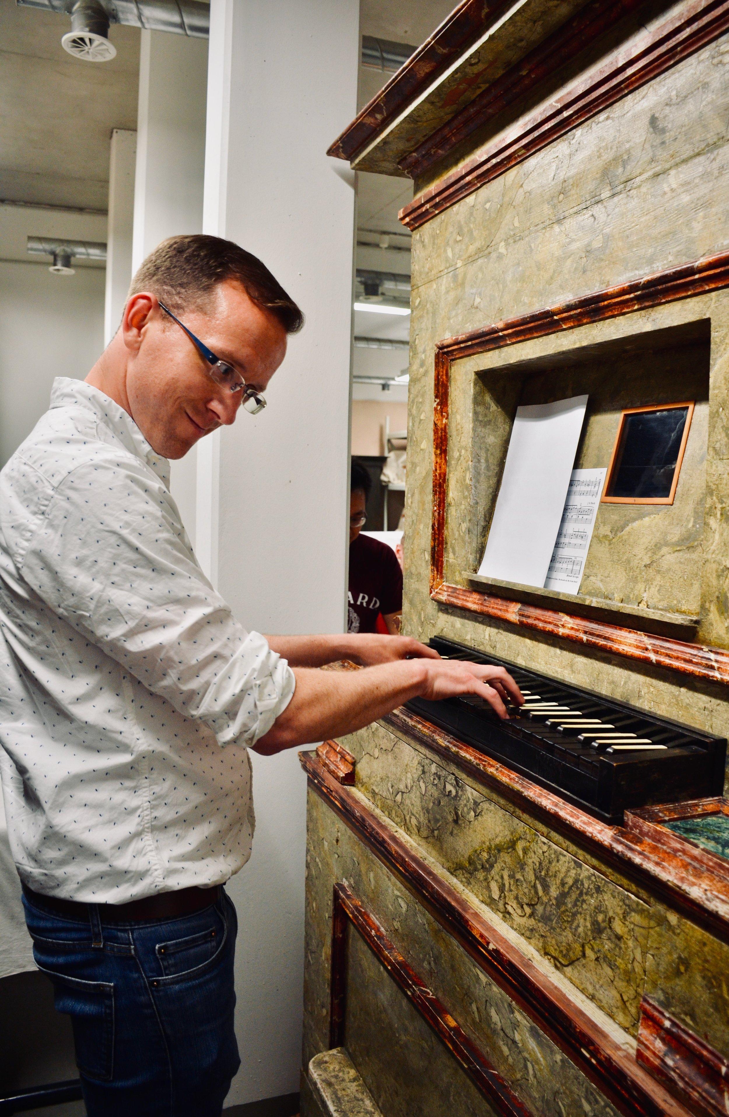 Christian Lane plays a chamber organ at the Bachhaus Museum, Eisenach.