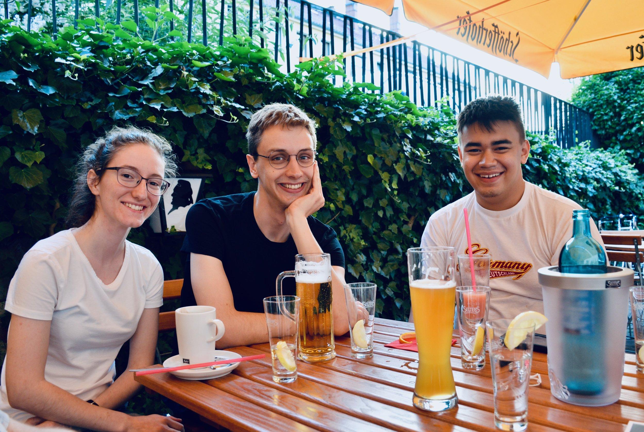 Rosemarie, Alex, and Alex enjoy dinner in Eisenach.