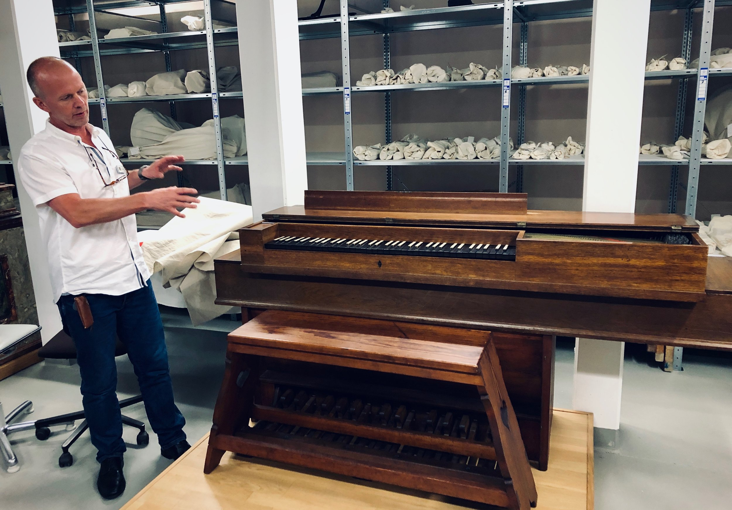 A pedal clavichord, Curator Uwe Fischer of the Bachhaus Museum, Eisenach.