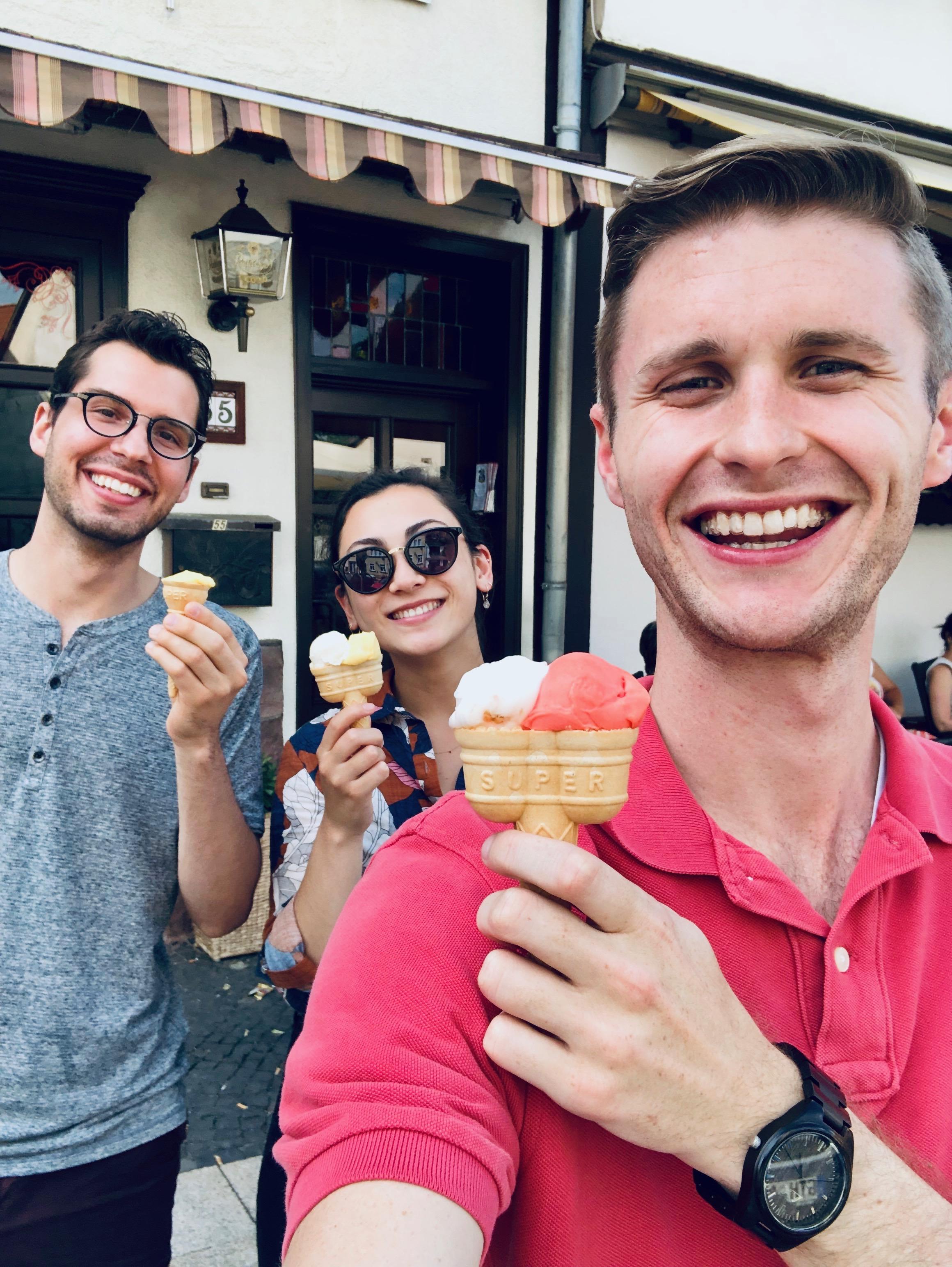 Nick Capozzoli, Meg Cutting, and Evan Currie enjoy an ice cream break in Waltershausen.