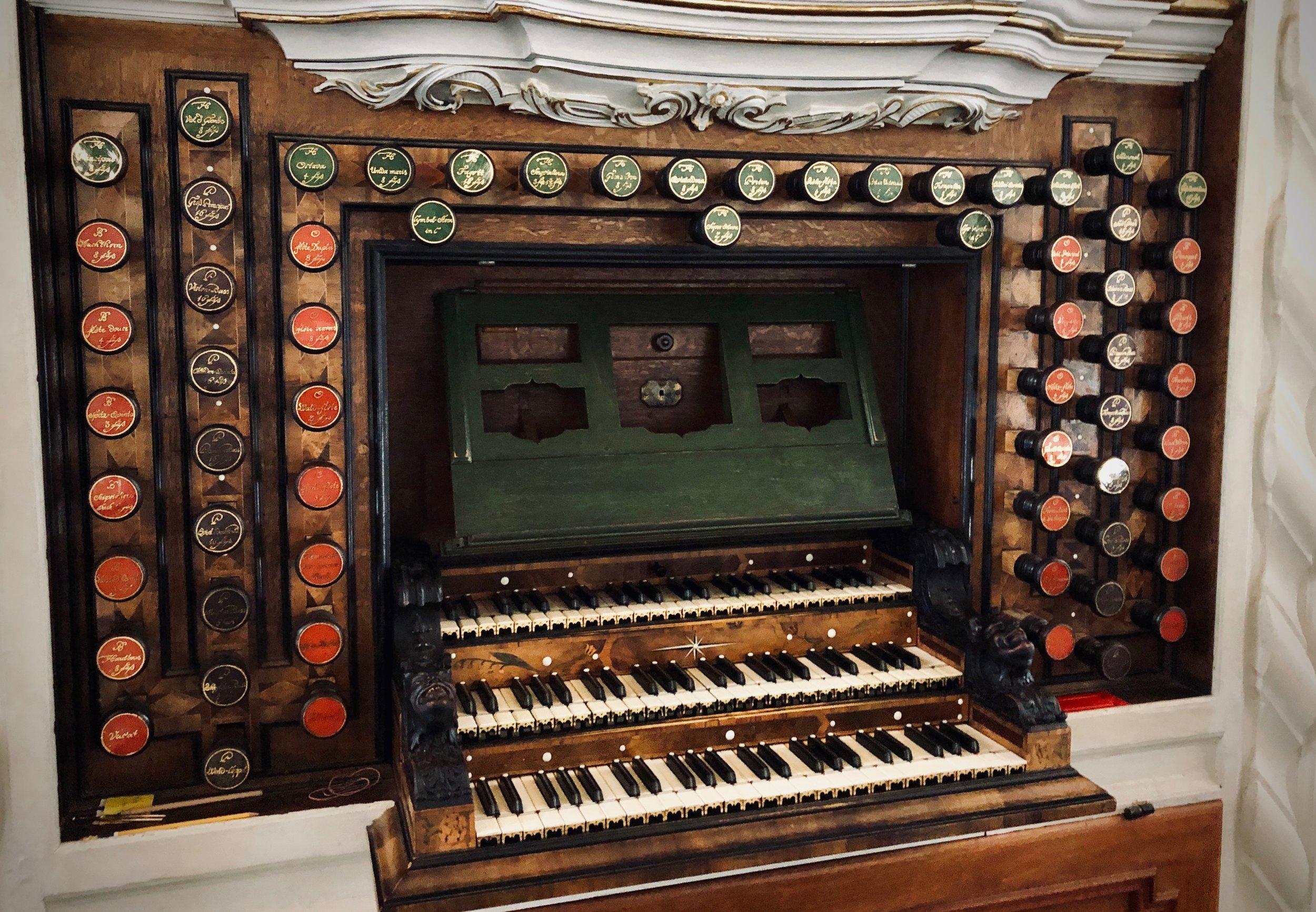 Console, 1730 Trost Organ, Stadtkirche, Waltershausen.