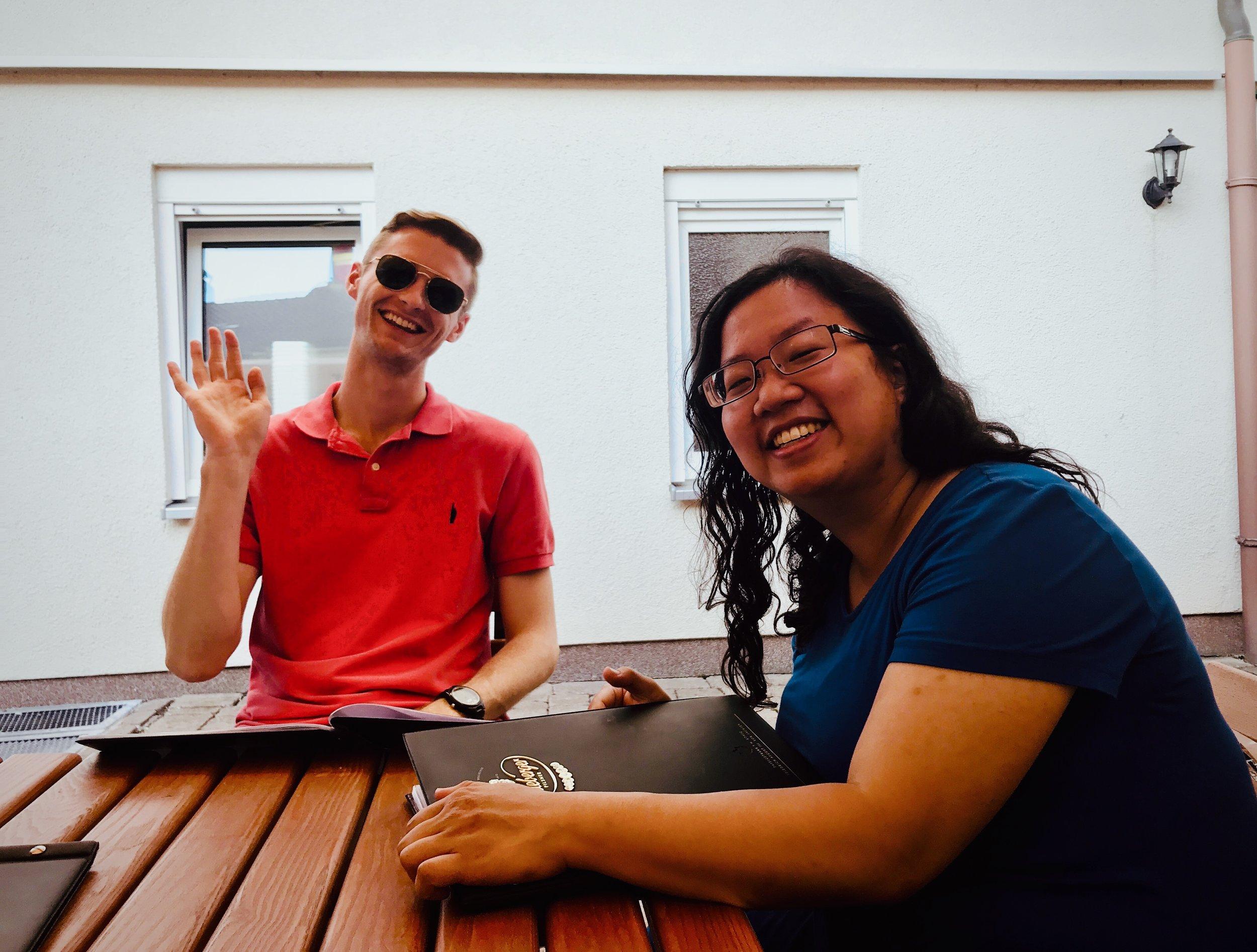 Evan Currie and Jennifer Hsiao enjoy dinner in Eisenach.