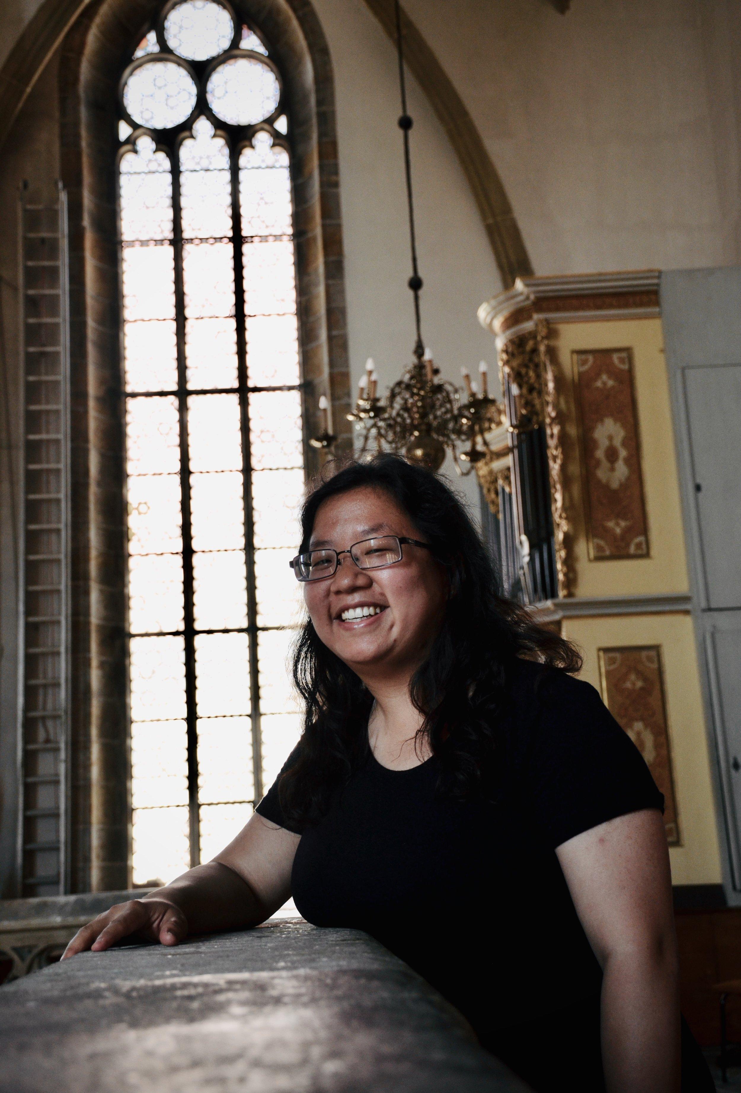 Jennifer Hsiao listens to the 1714 Gottfried Silbermann organ in Freiberg Dom.