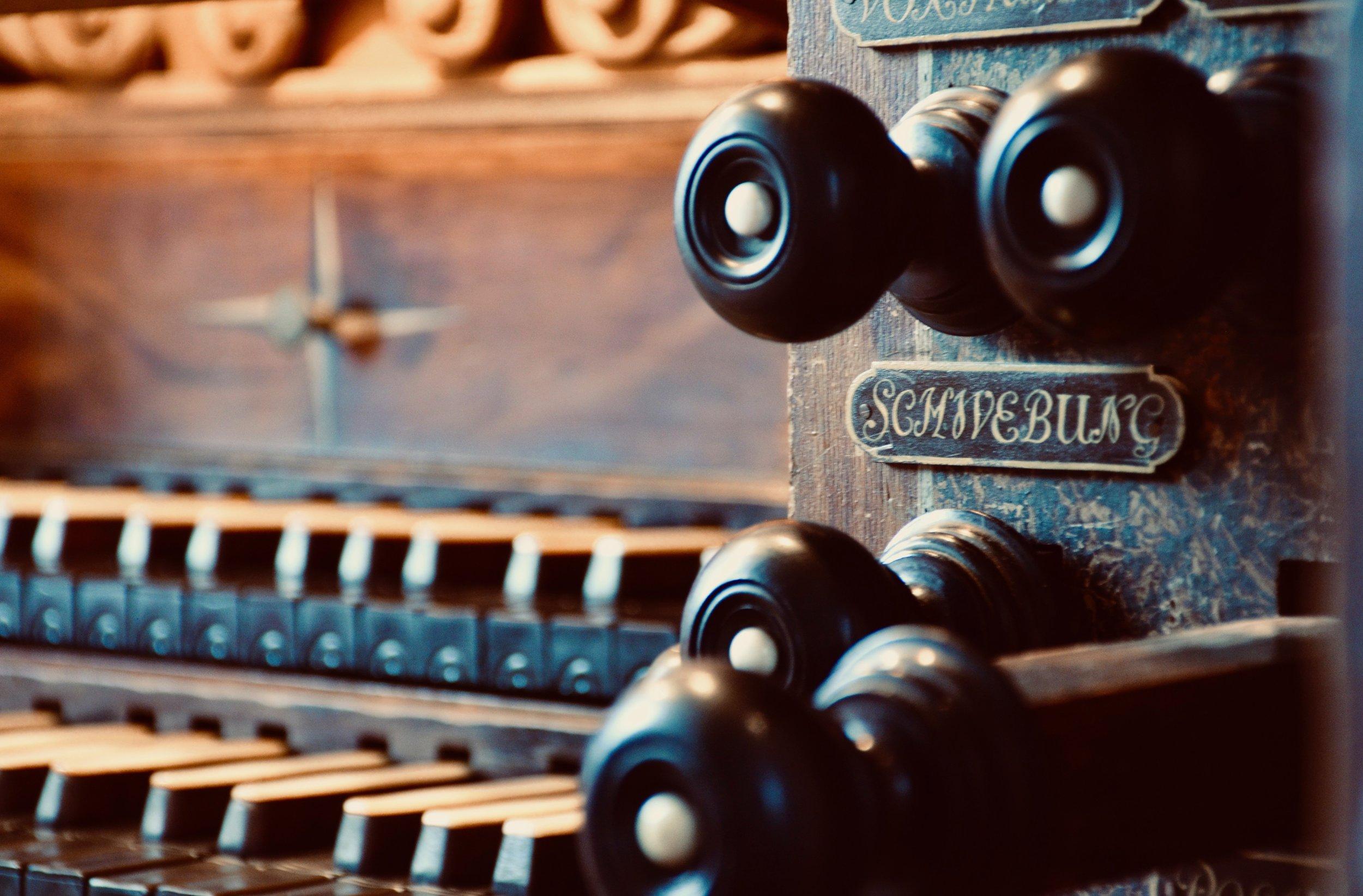 Console detail, 1714 Gottfried Silbermann organ in Freiberg Dom.