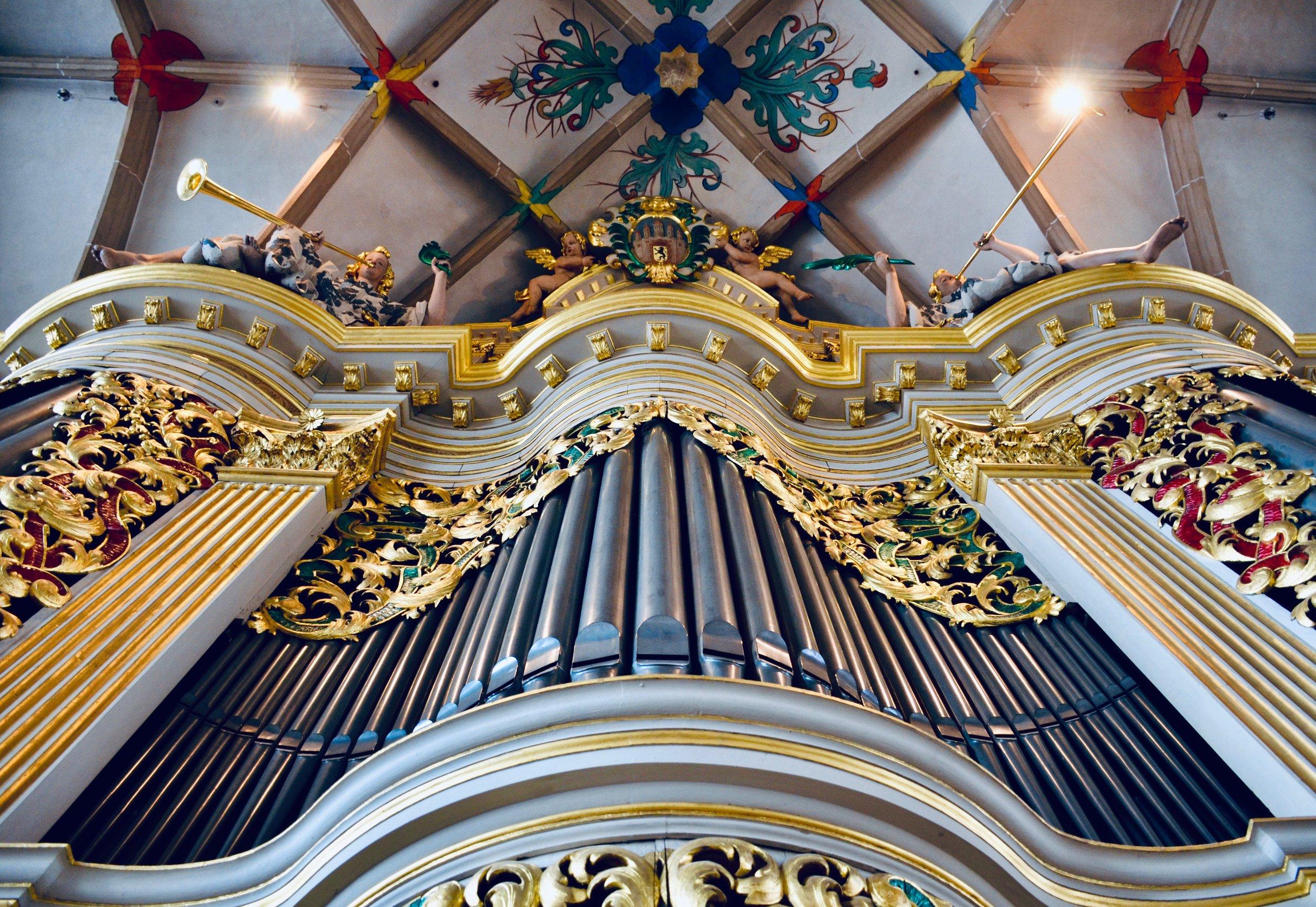 Facade detail, 1714 Gottfried Silbermann organ in Freiberg Dom.