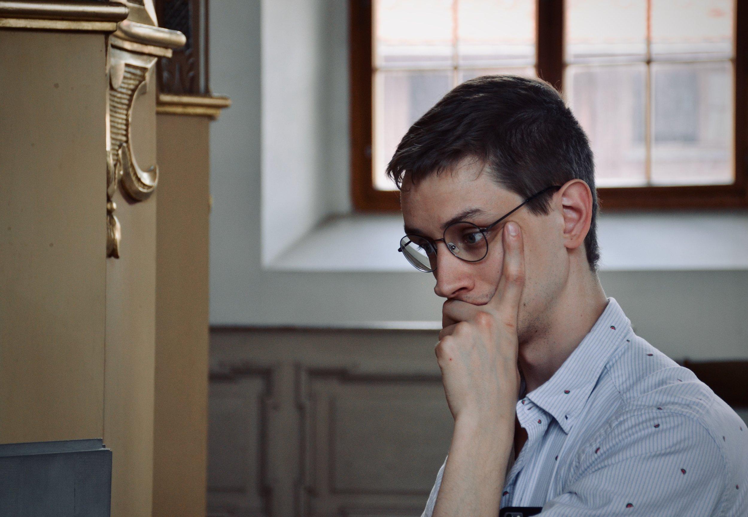 Alex Ross listens to the 1735 Gottfried Silbermann organ, St. Petrikirche, Freiberg.