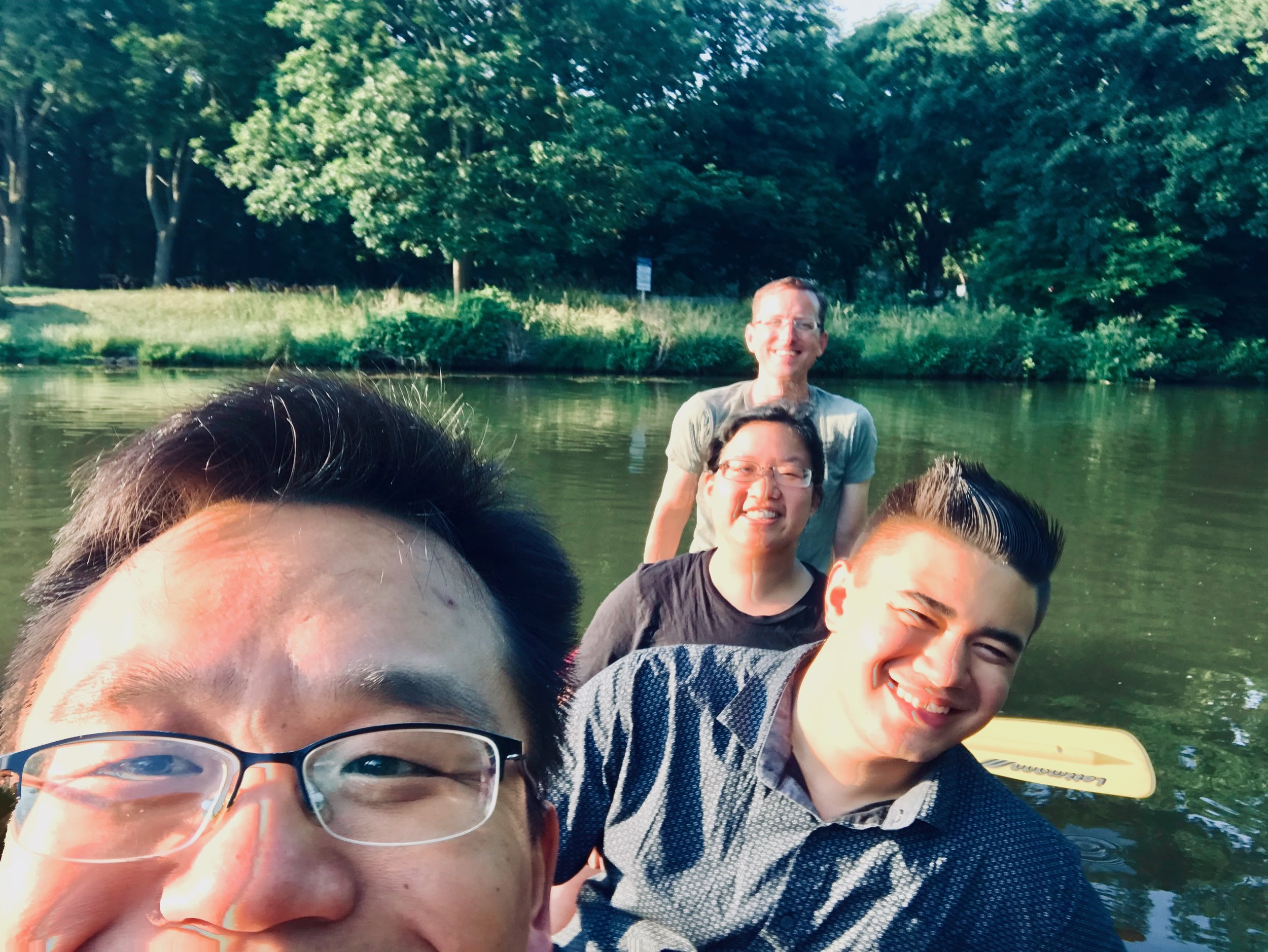 Cho, Alex, Jennifer, and Chris canoe in Leipzig.