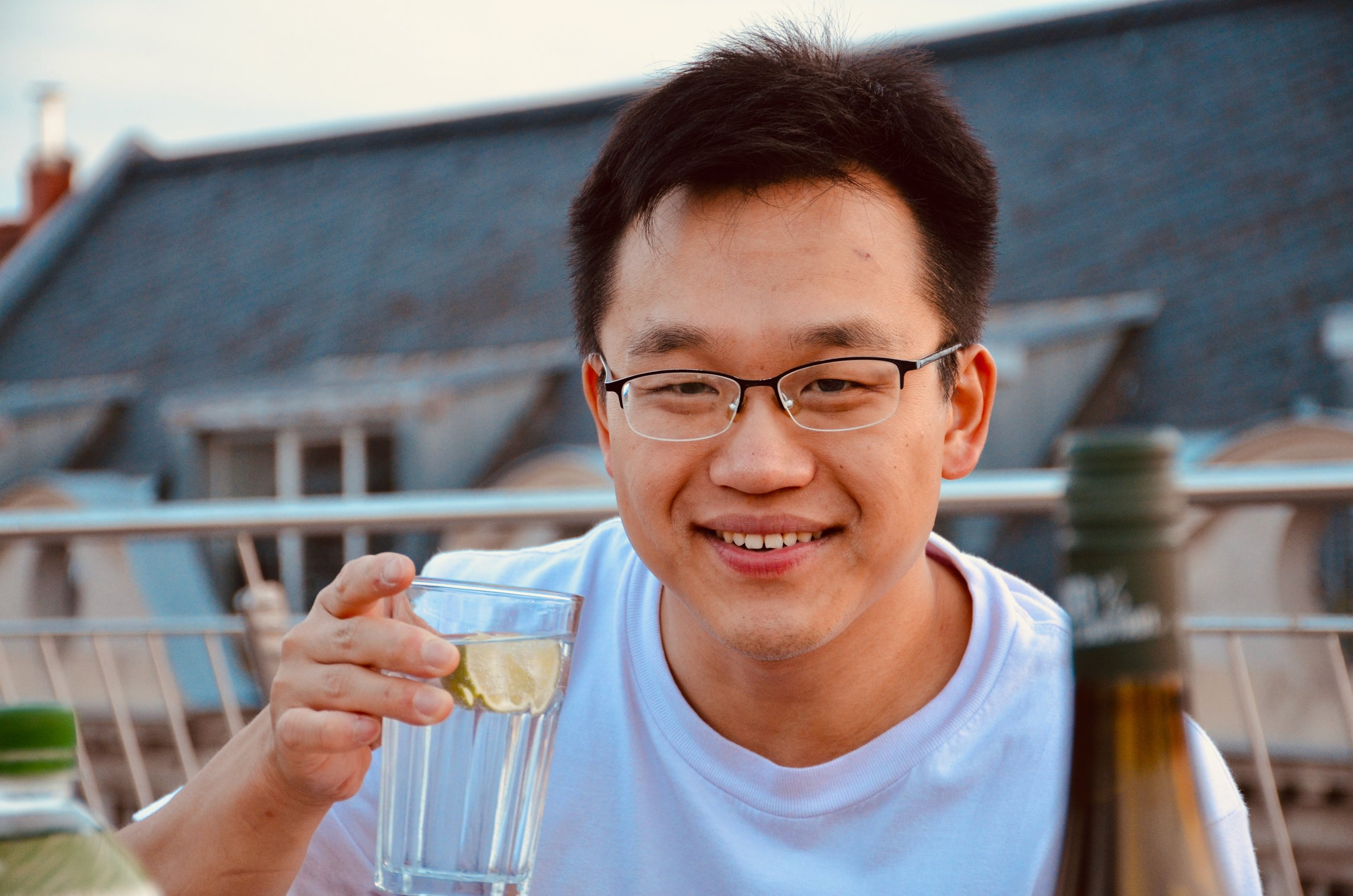Adrian Cho enjoys dinner in Leipzig.