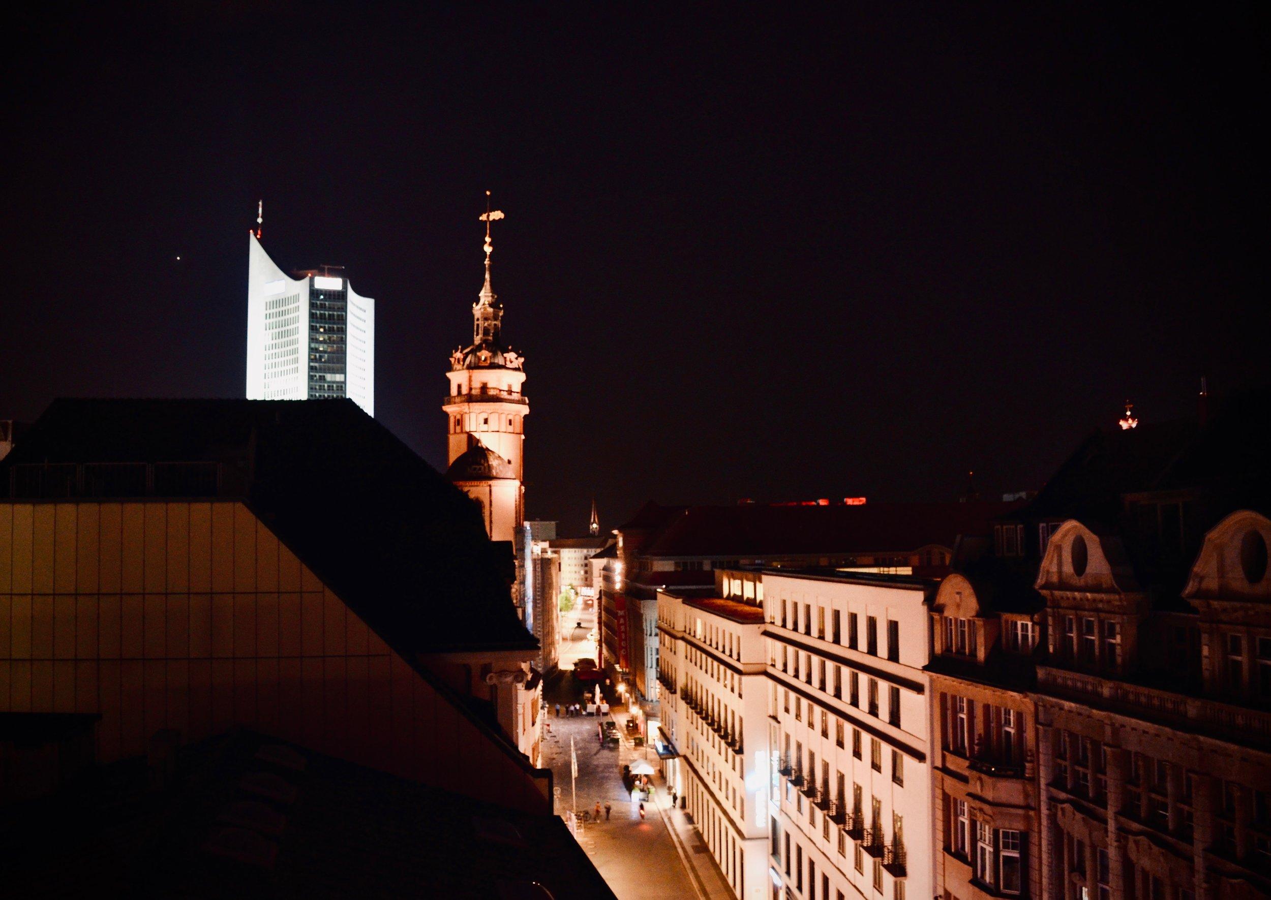 The tower of Nikolaikirche, Leipzig.