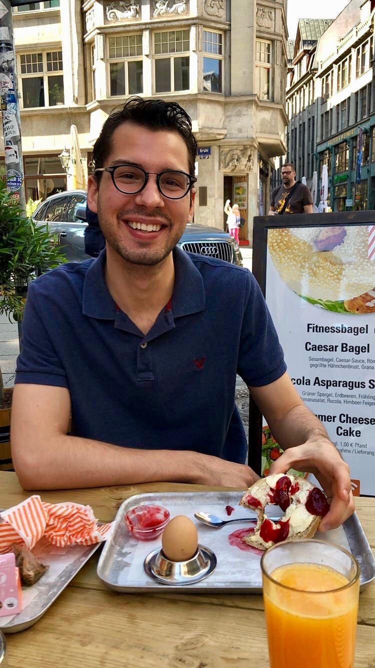 Nick enjoys breakfast in Leipzig.