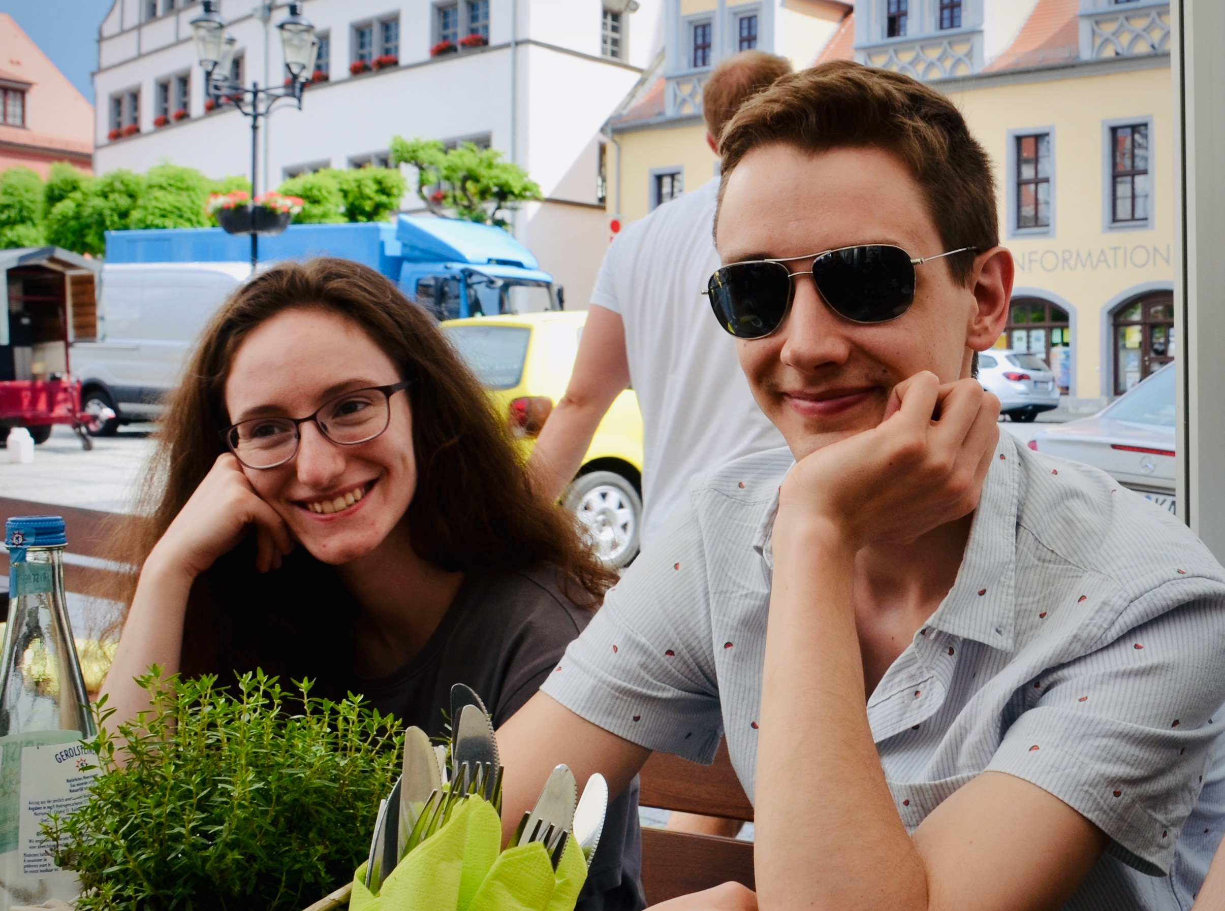 Rosemarie and Alex enjoy lunch in the market square, Naumburg, Germany.