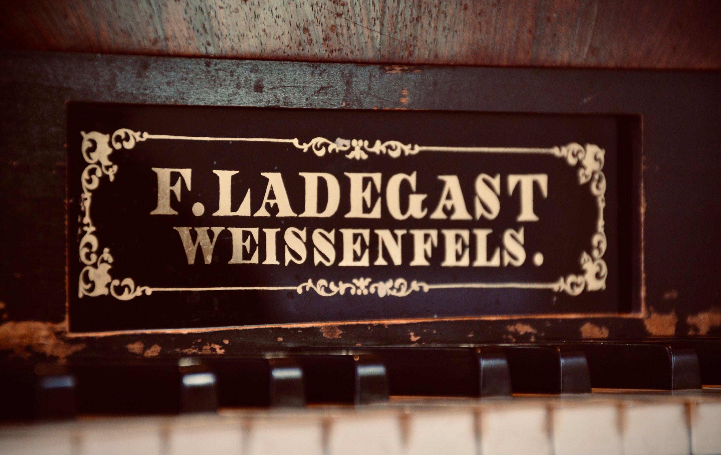 Nameplate, 1869 Ladegast Organ, Marien-Magdalenen-Kirche, Naumburg.