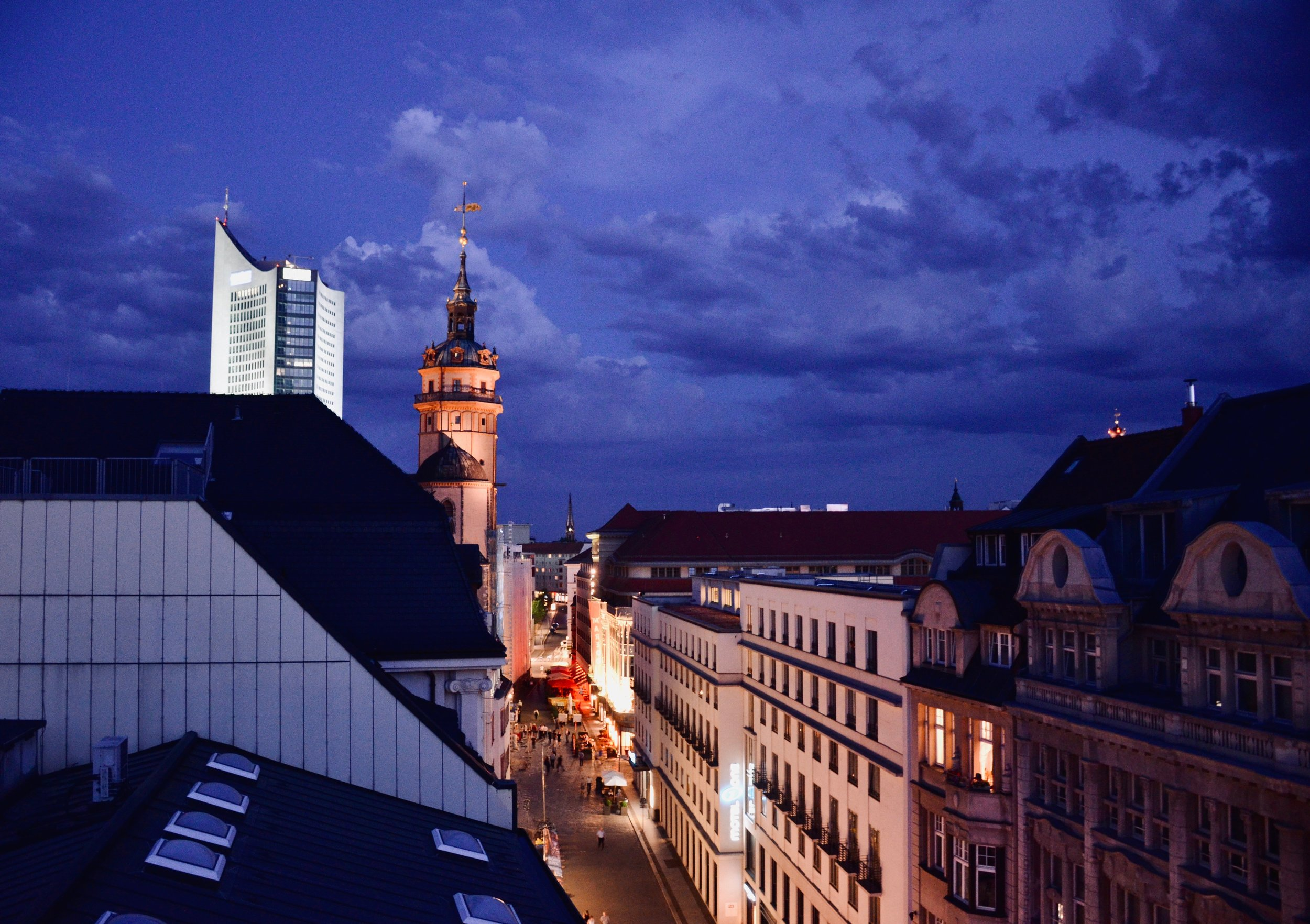 A stunning evening on the roof top, with the spire of Nikolaikirche, Leipzig.