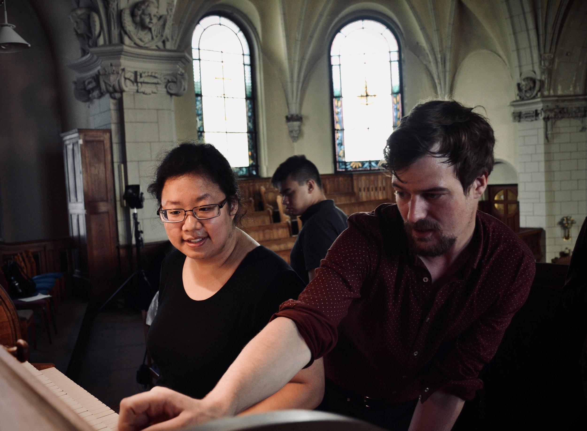 Martin Sturm assists Jennifer Hsiao, 1904 Sauer Organ, Michaeliskirche, Leipzig