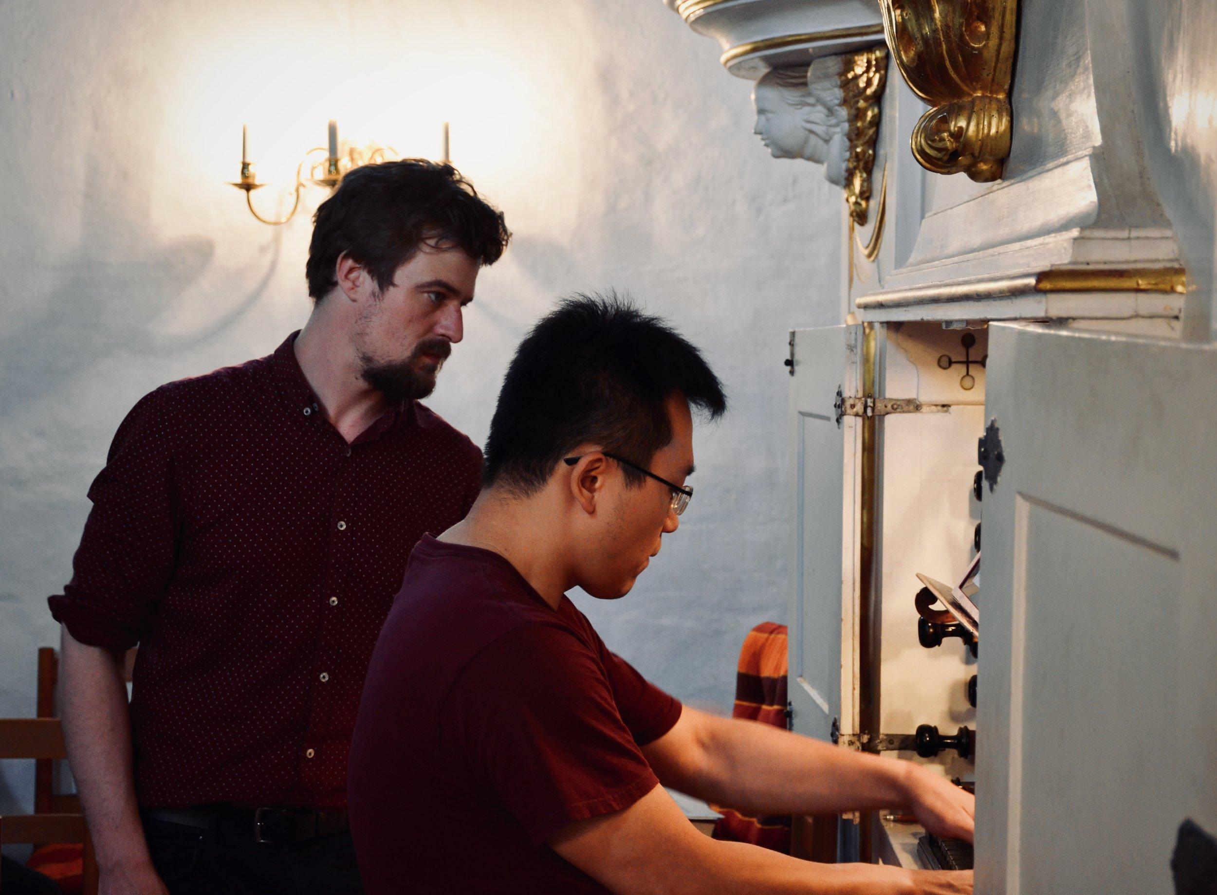 Martin Sturm assists Adrian Cho, 1722 Gottfried Silbermann Organ, Killianskirche, Bad Lausick