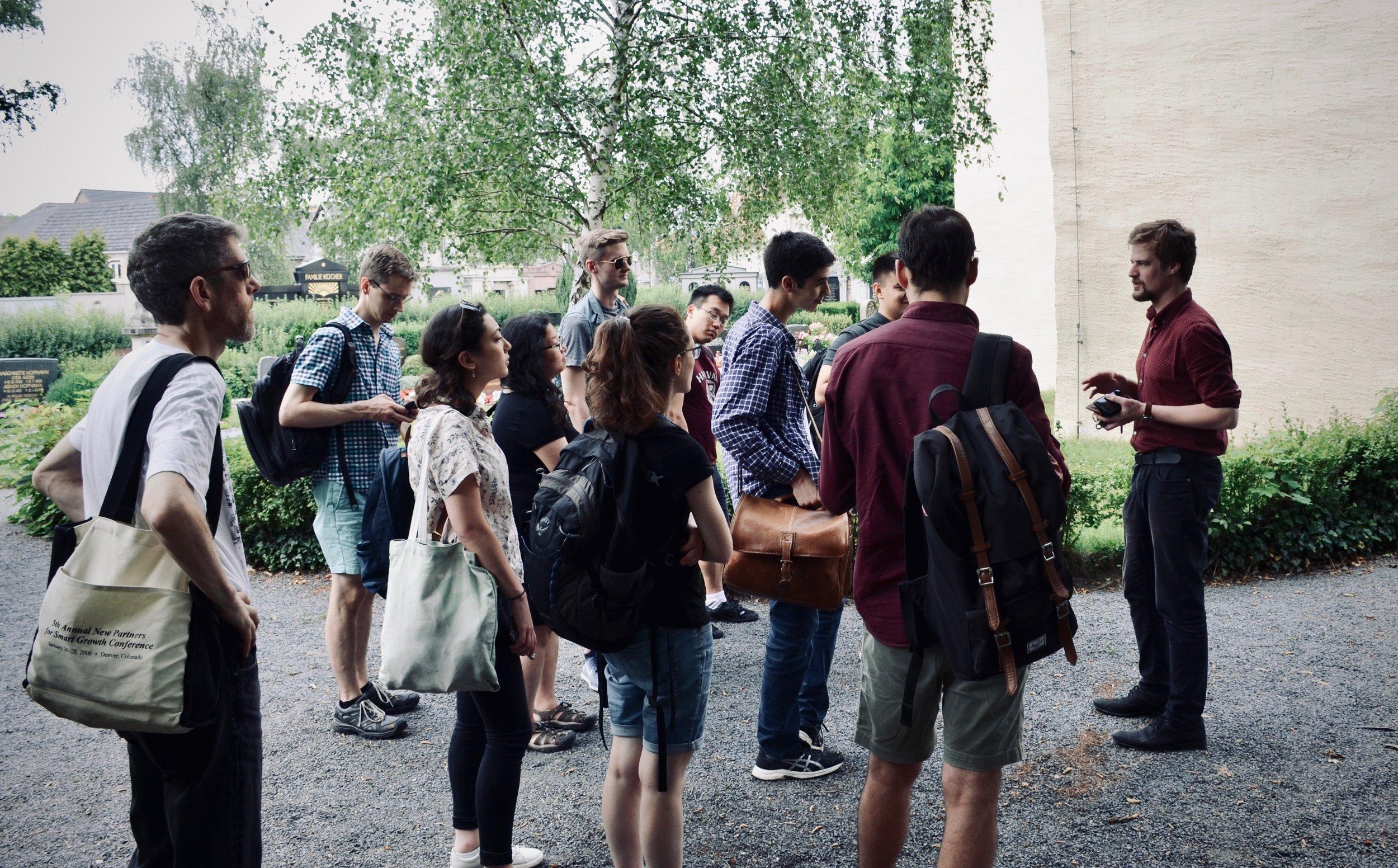 Martin Sturm welcomes members of Boston Organ Studio to Pomßen, Germany.